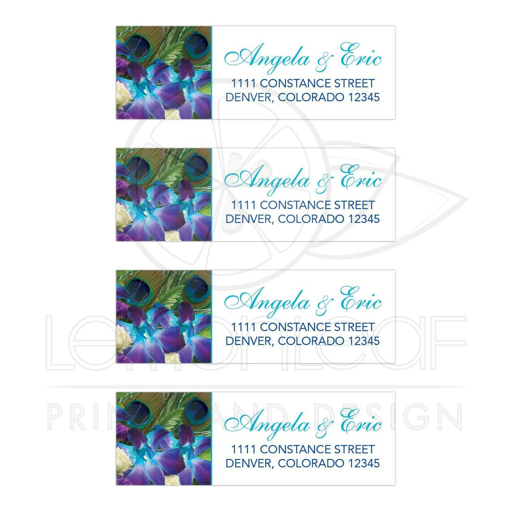 Blue Dendrobium Orchid Bouquet And Peacock Feather Wedding Address Labels