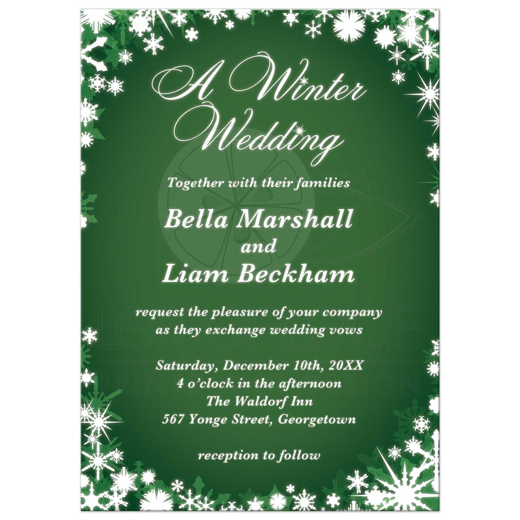 Christmas Wedding Invitations.A Winter Wedding Invitation Green