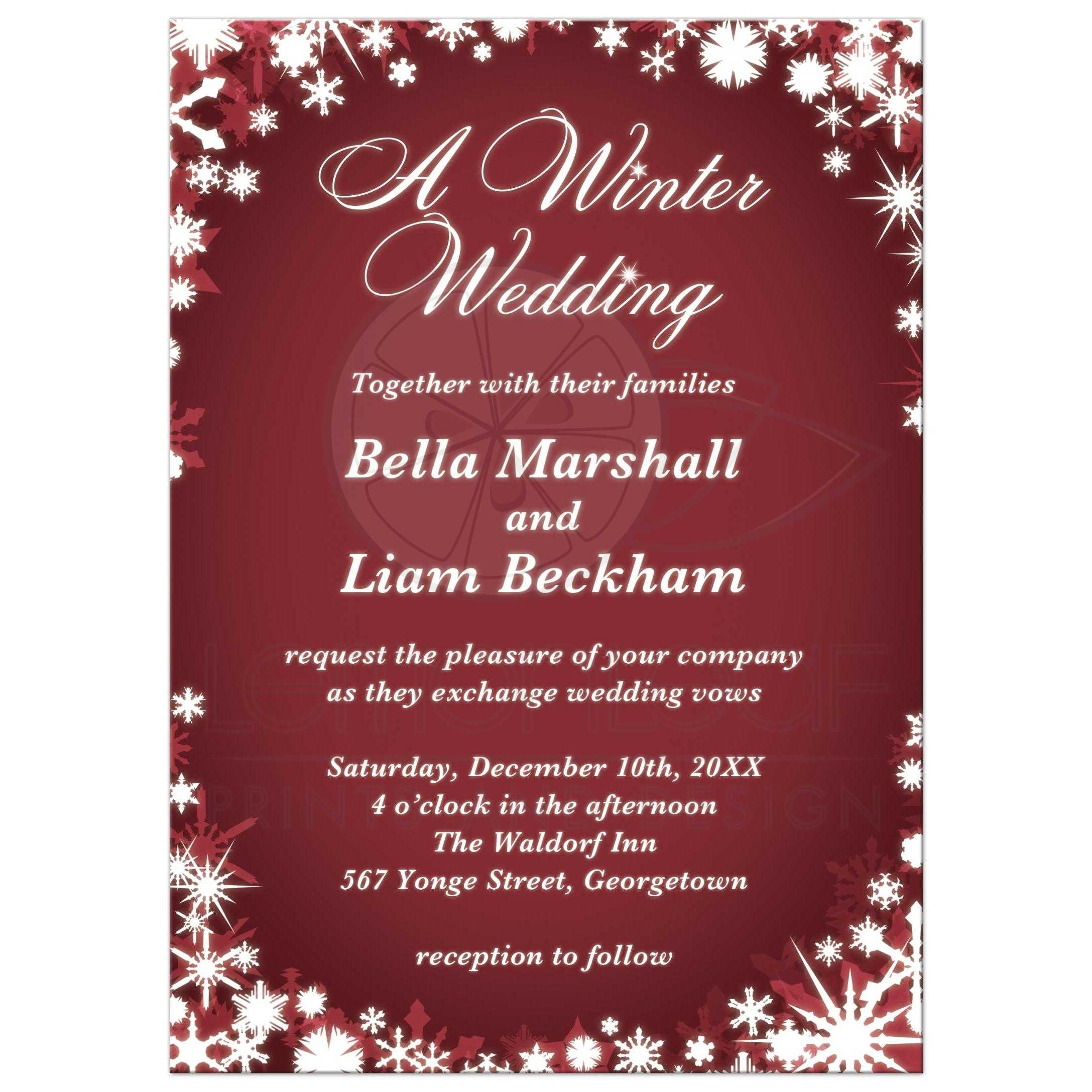 A Winter Wedding Invitation - red