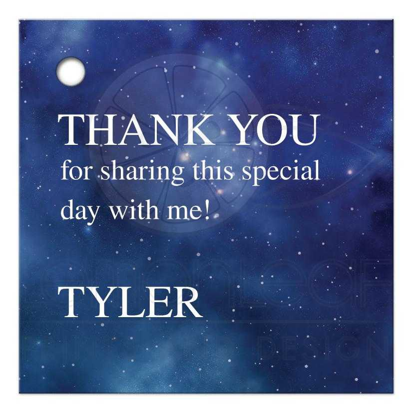 ... Bat Mitzvah Gift Tag. Constellation Outer Space Thank You Favor Tag ...