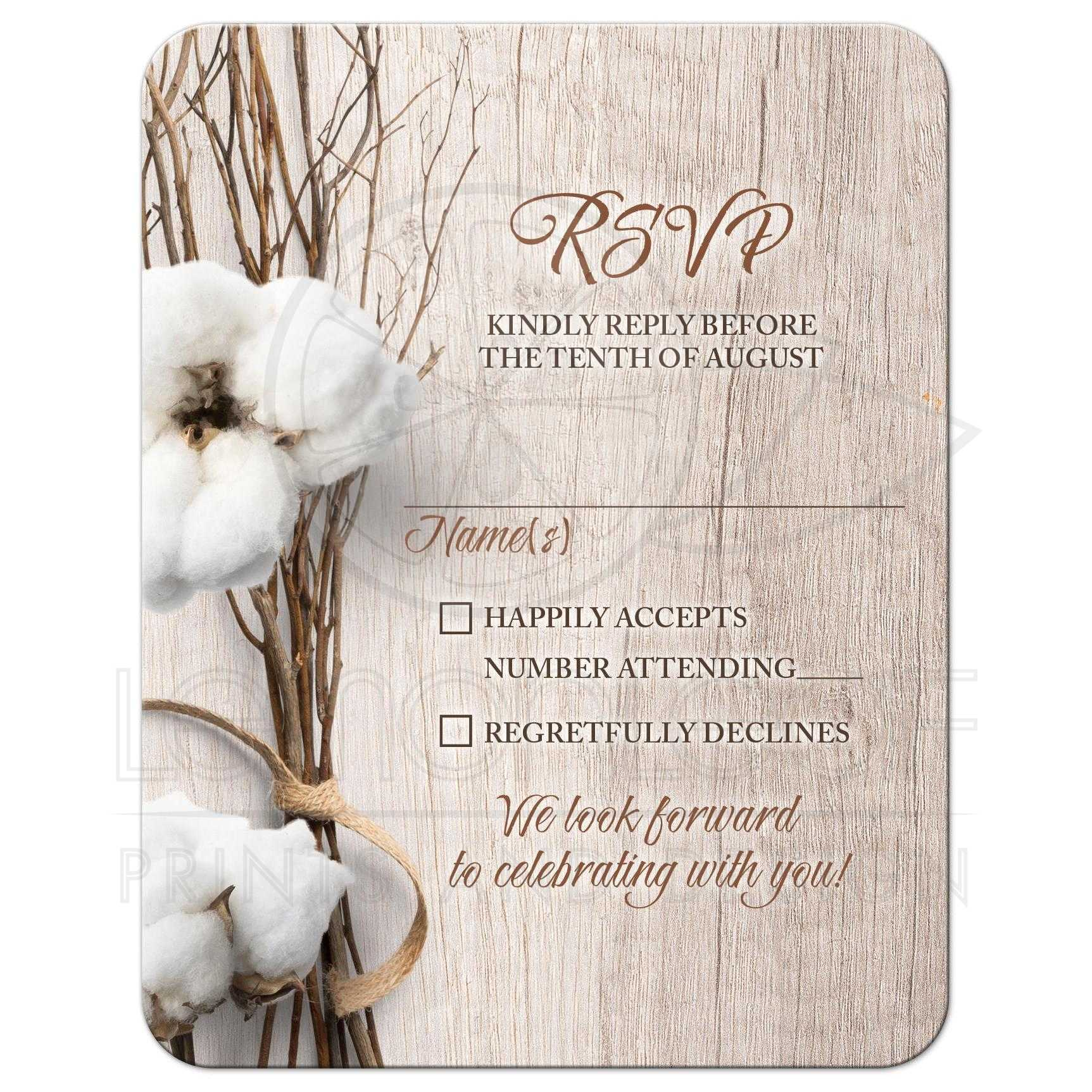 trendy rustic cotton wedding rsvp card twigs wood woodgrain