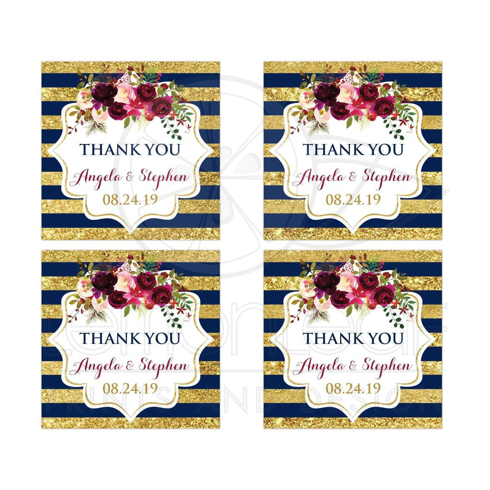 SIMULATED Gold, Navy Stripes Wedding Favor Sticker | Watercolor Floral