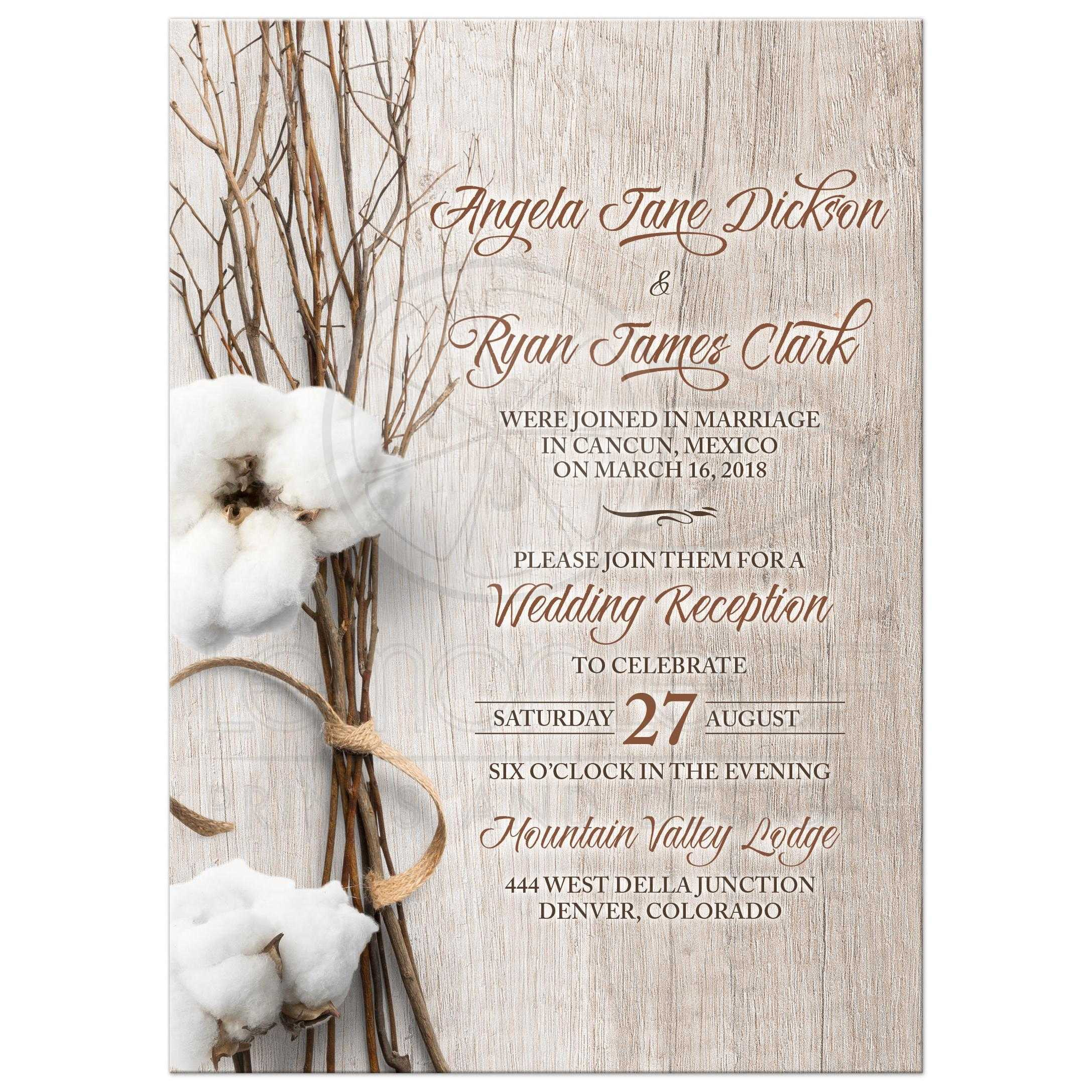 Sending Wedding Invitations Post Office: Trendy Rustic Cotton Post Wedding Reception Only Invitation