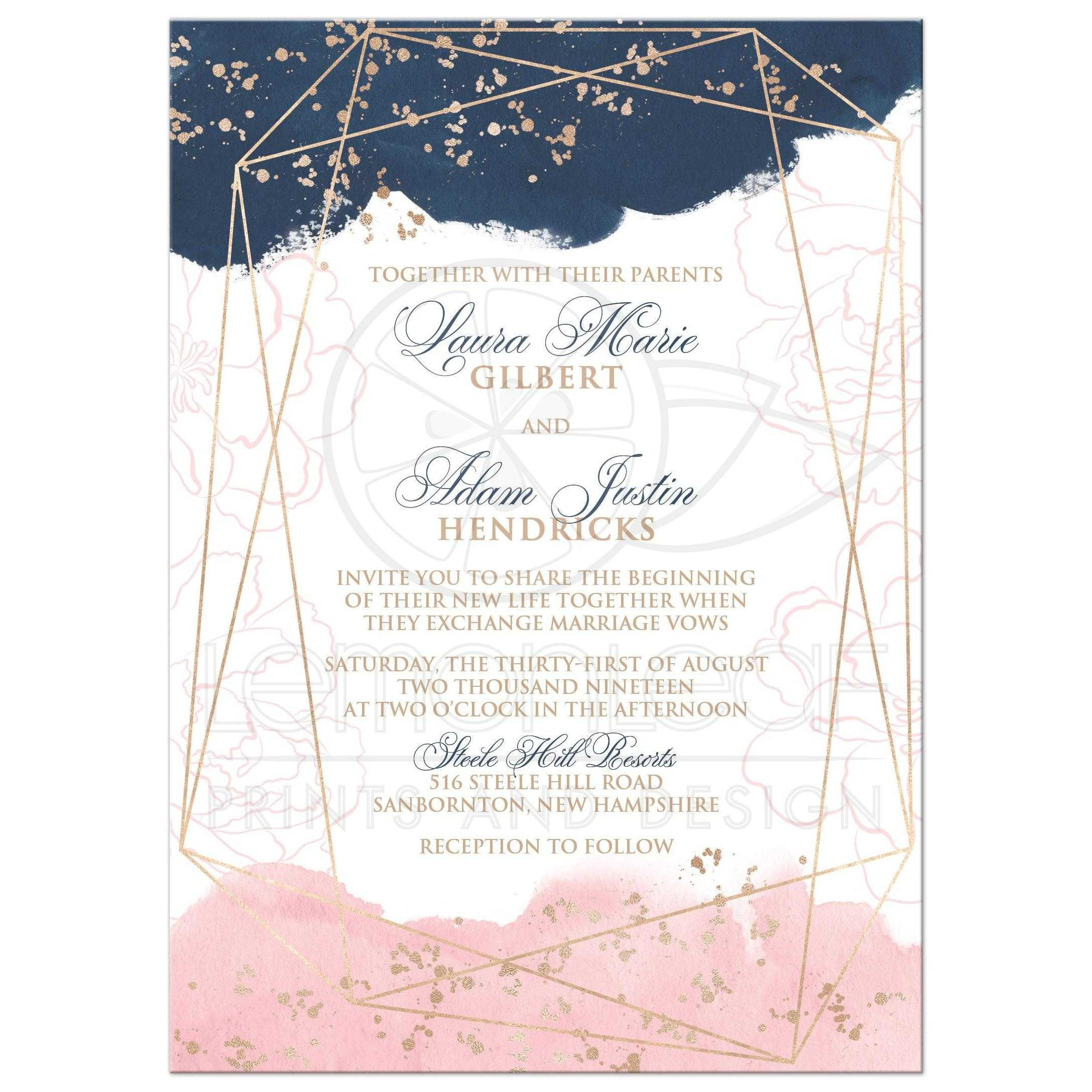 Navy Pink White Geometric Shape Watercolor Wedding Invitation