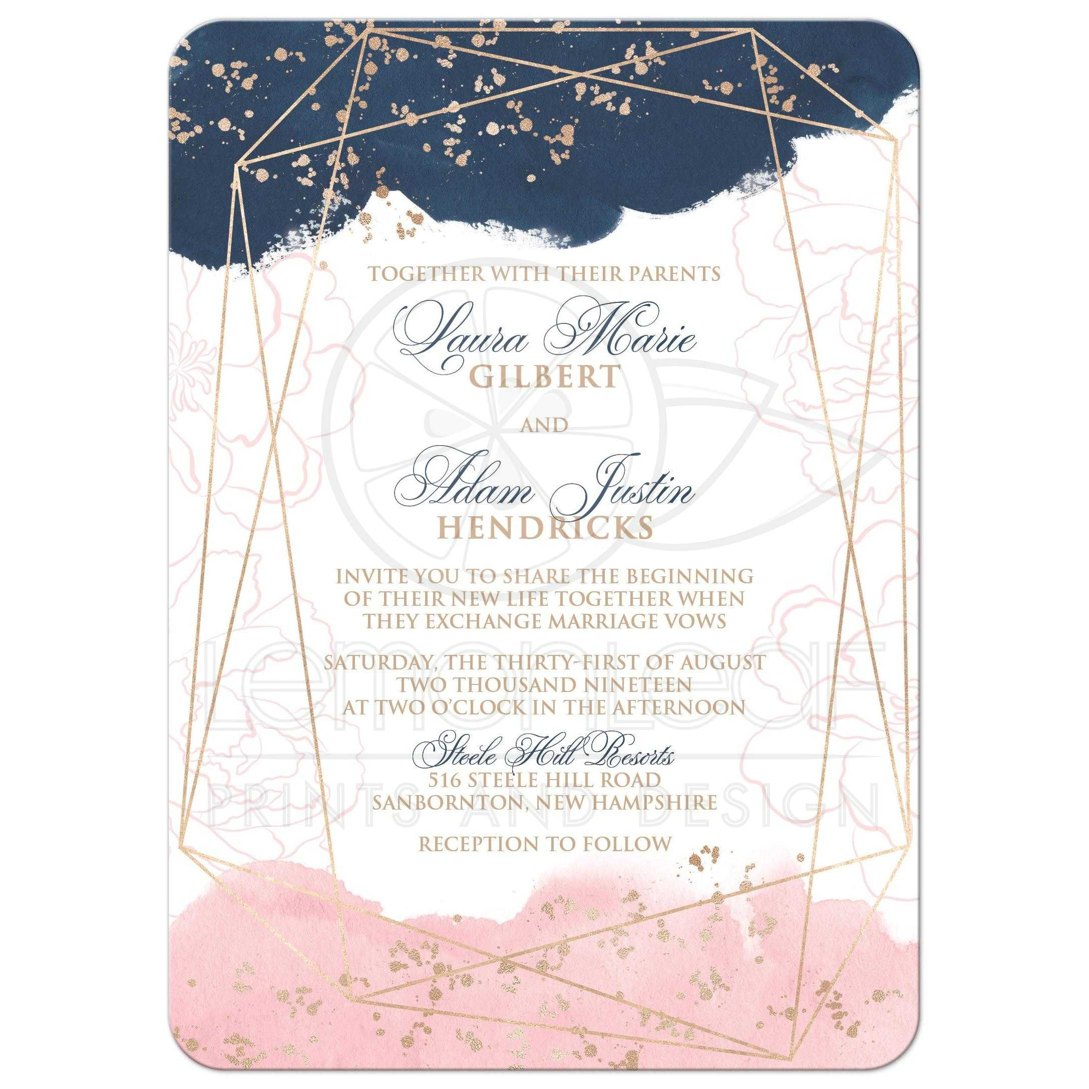 Navy, Pink, White Geometric Shape Watercolor Wedding