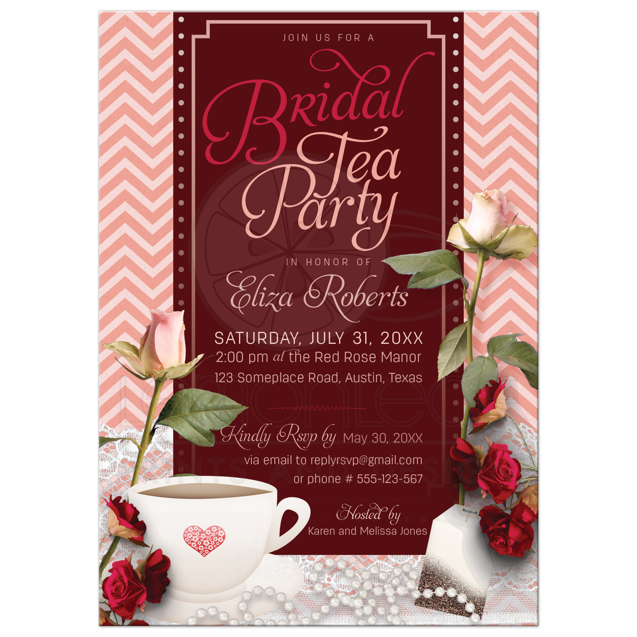 Pink Chevron Tea Party Bridal Shower Invitation