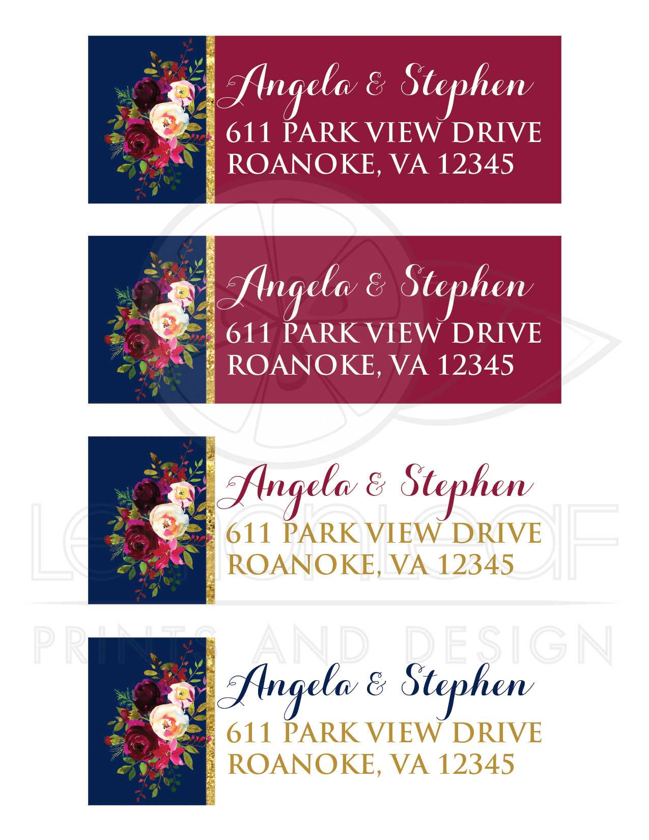 Watercolor Florals Address Labels | Burgundy, Navy, Gold