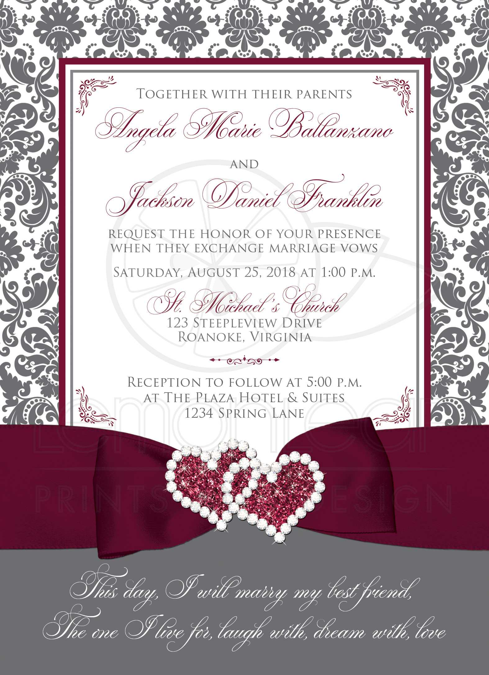 Gray, White Damask Wedding Invitation, PRINTED ON Burgundy Accents
