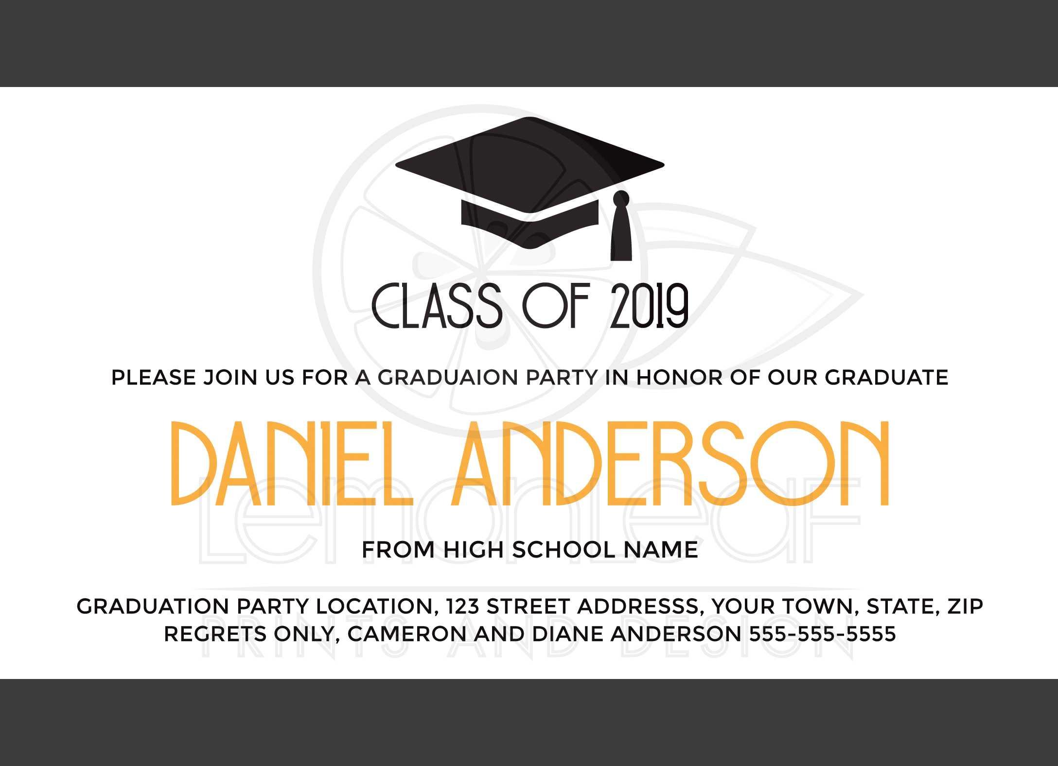 Modern Elegant Graduation Invitation With Mortarboard Hat Cap