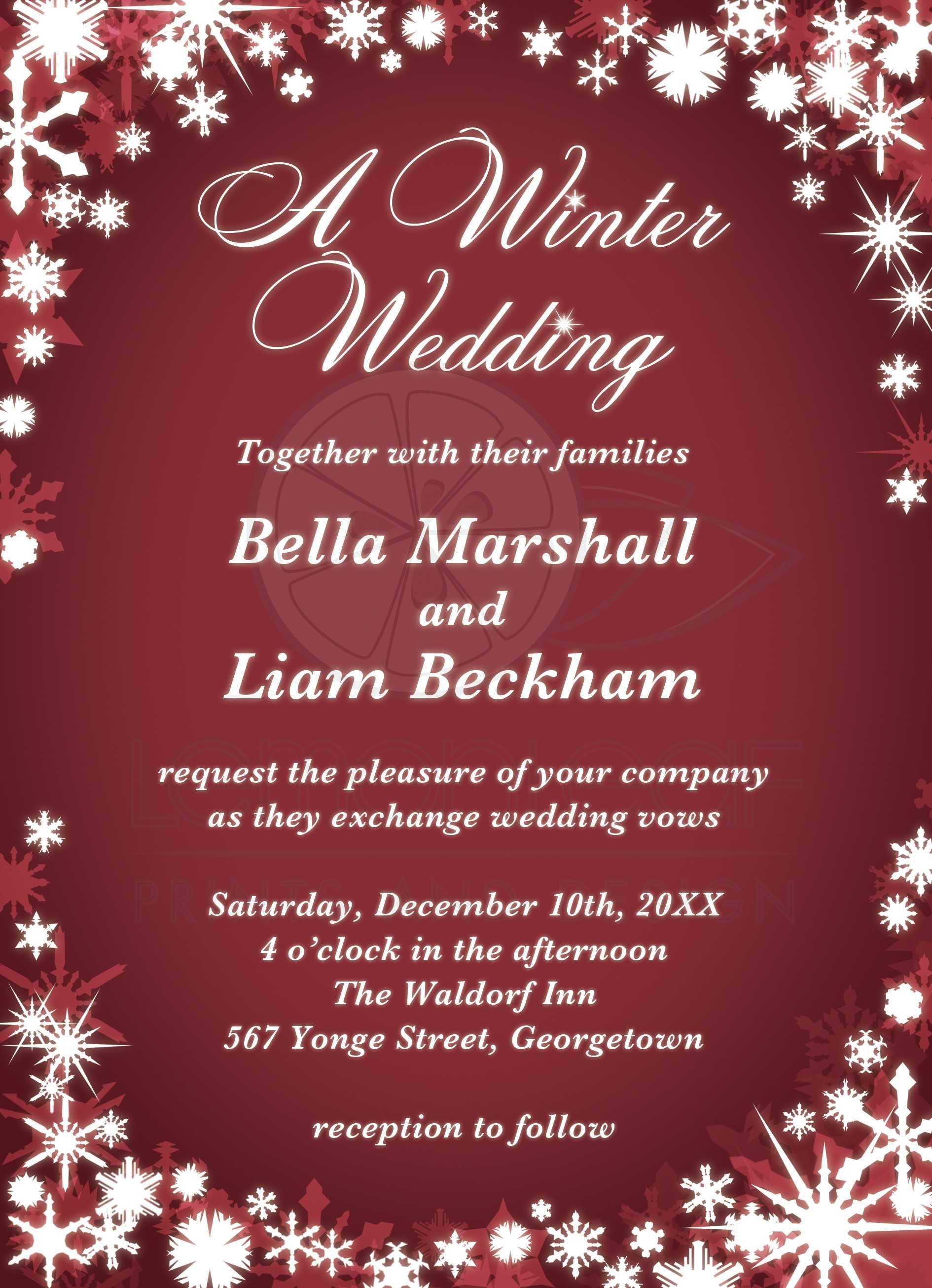 A Winter Wedding Invitation - red