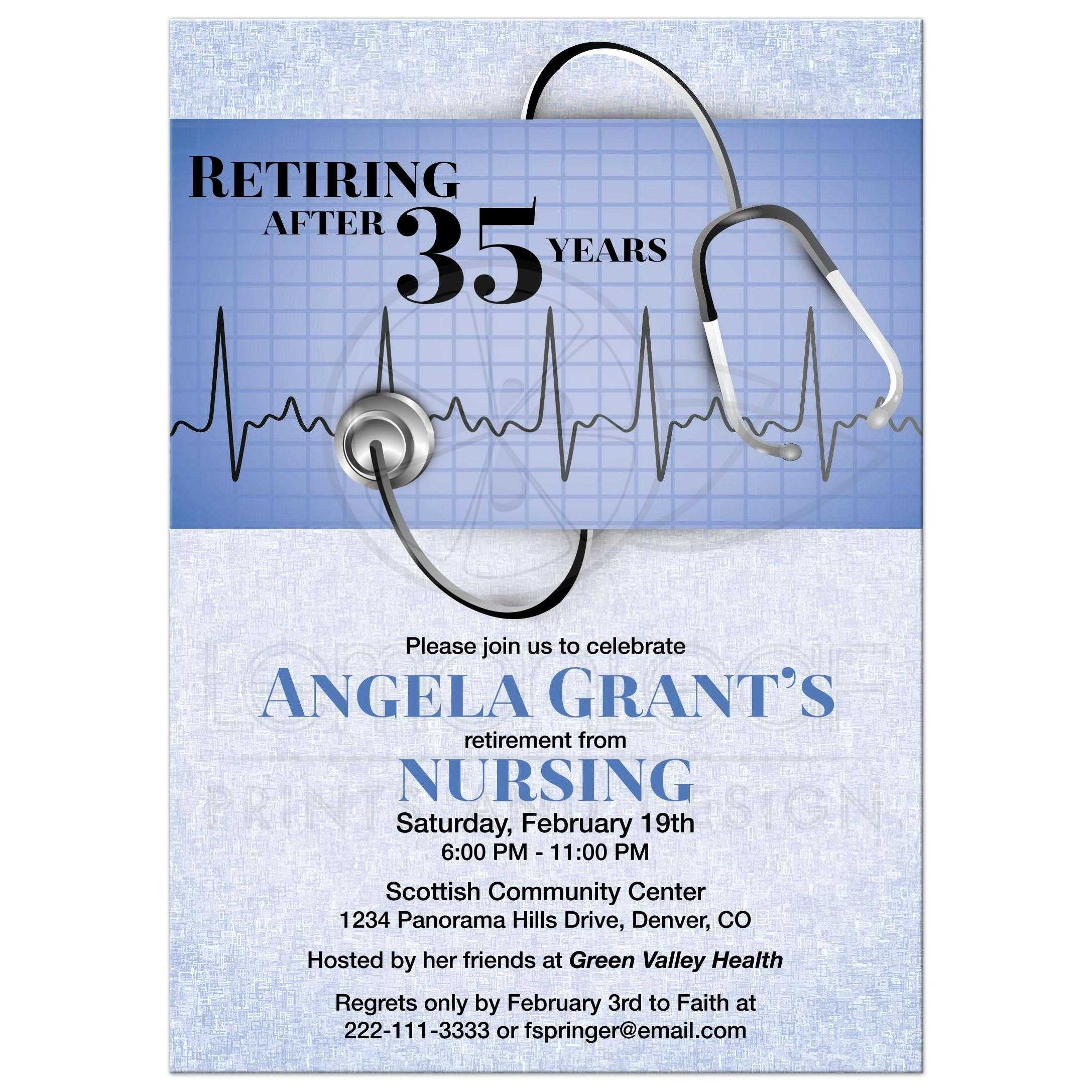 Nurse Retirement Party Invitation Medical Stethoscope