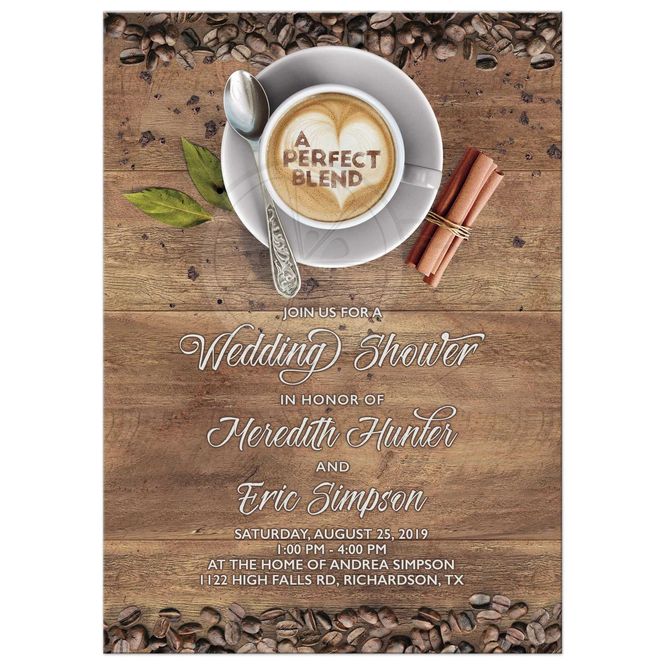 a perfect blend coffee themed wedding shower invitation for a couple shower or a bridal shower