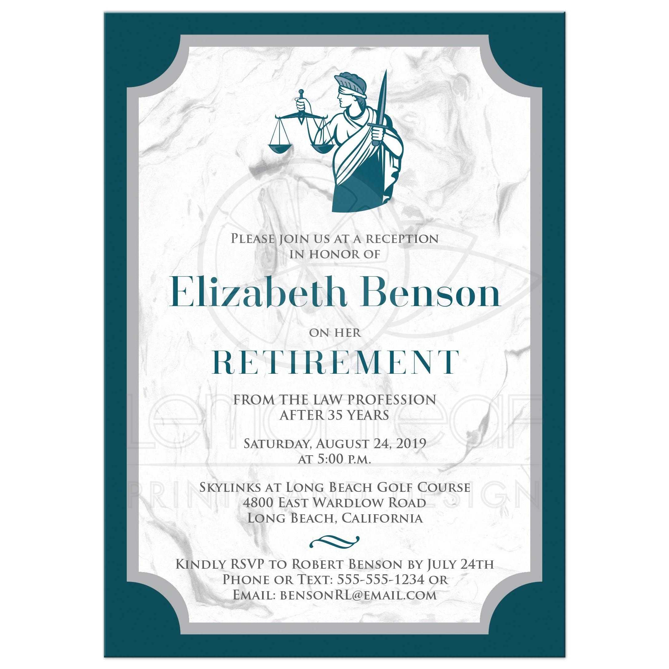 teal grey white marble look lady justice retirement invitation