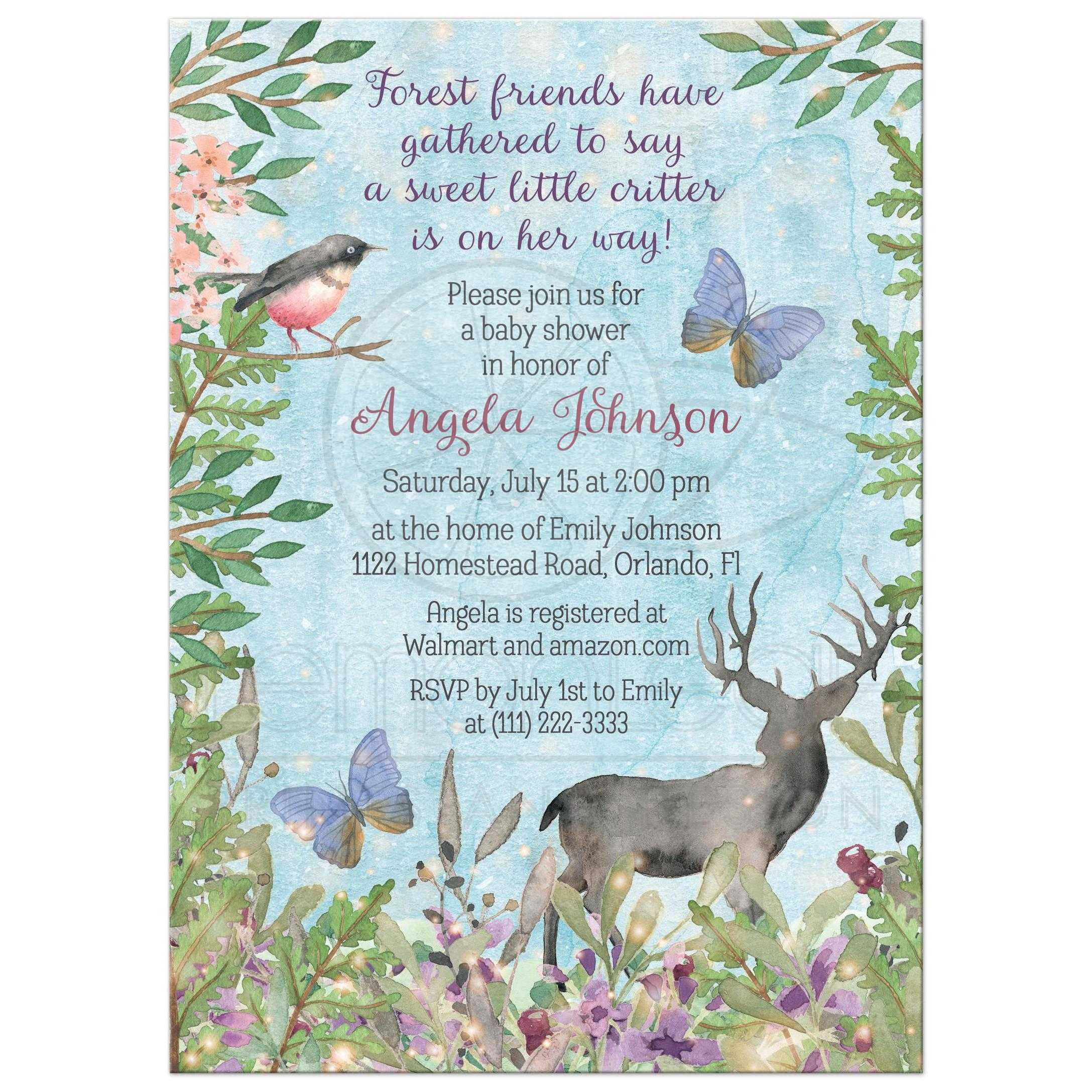 Woodland forest baby girl baby shower invitation watercolor deer bird watercolor woodland enchanted forest baby shower invitation for a girl with deer bird filmwisefo