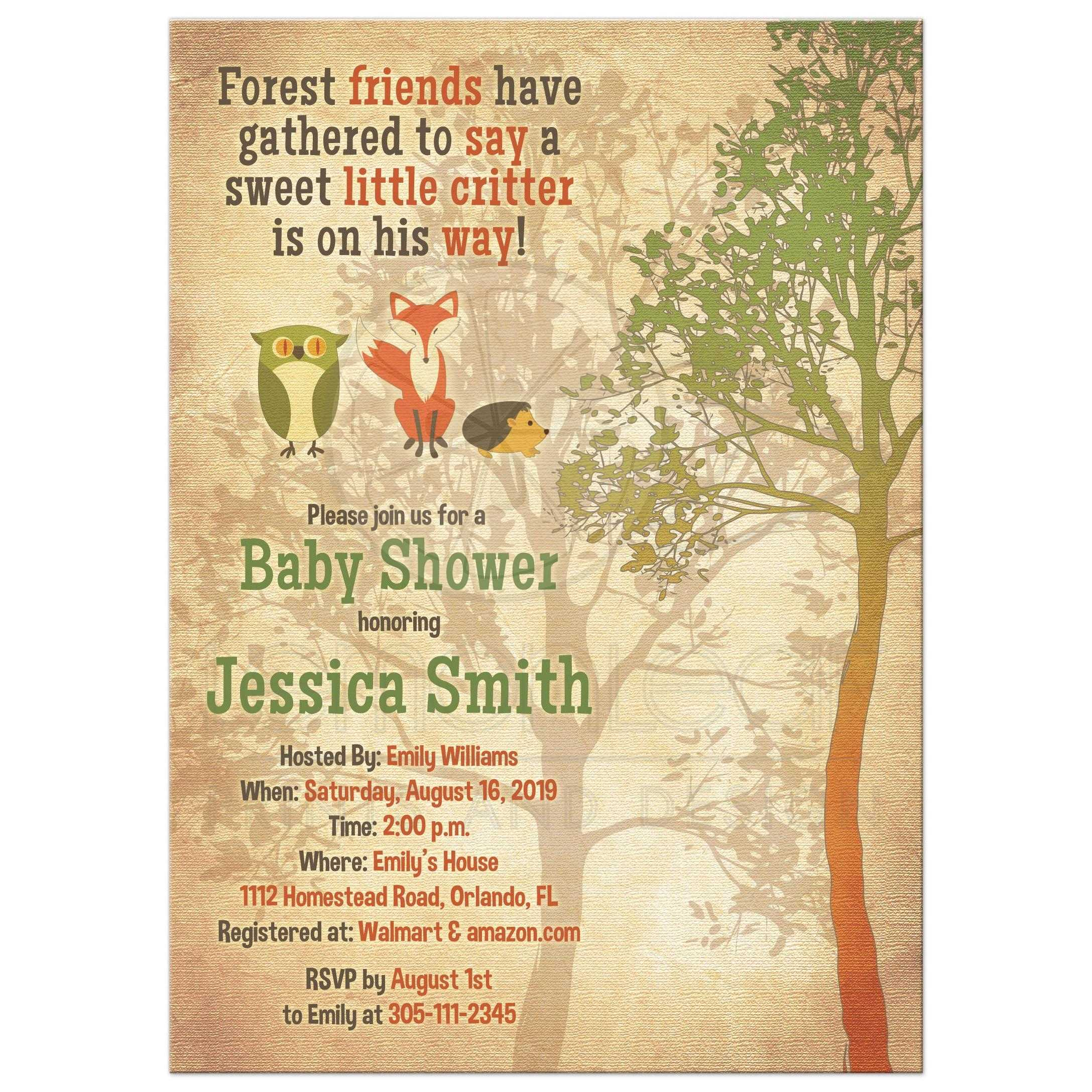 Woodland forest baby shower invitation fox owl hedgehog tree woodland forest critter baby shower invitation with owl fox hedgehog and tree front filmwisefo