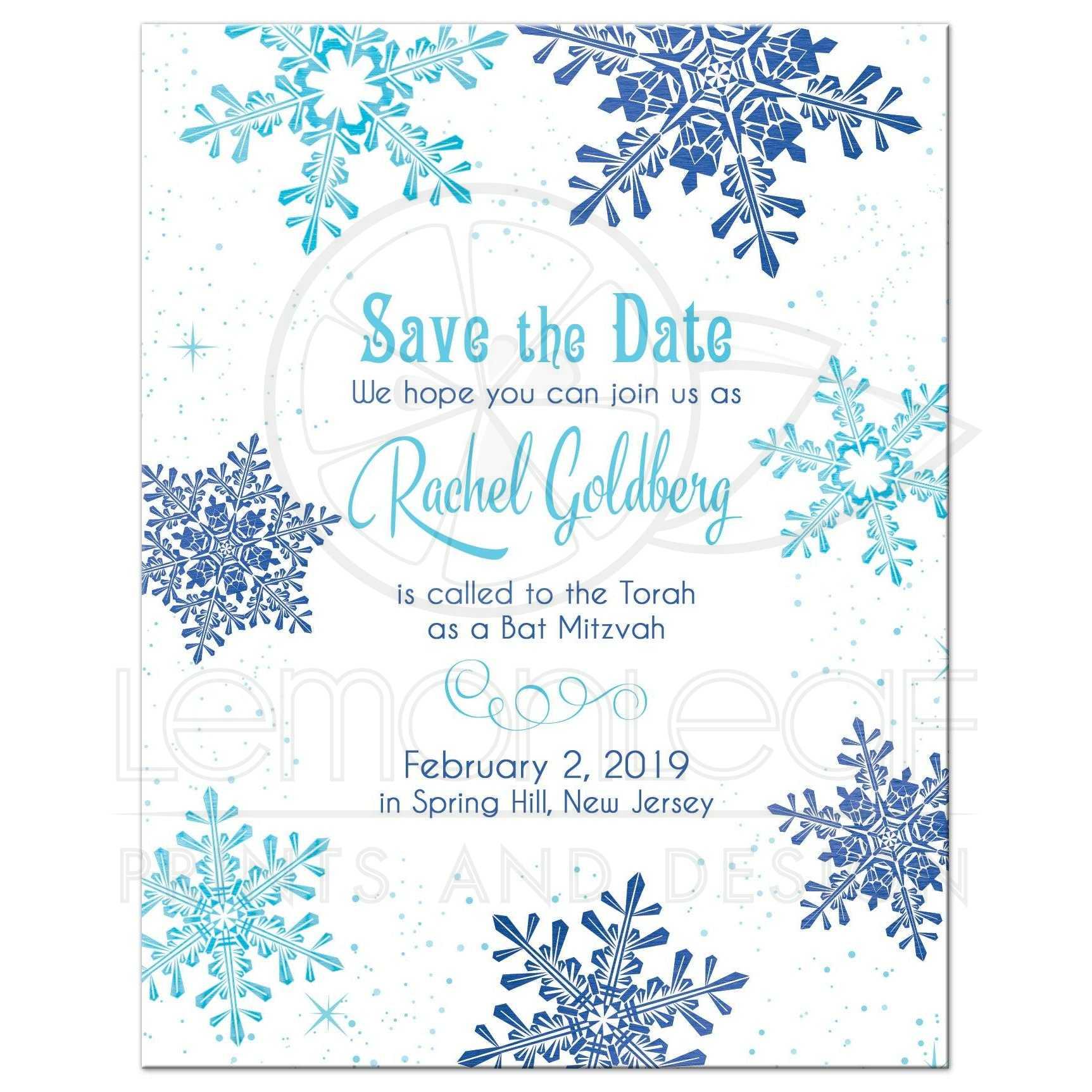 winter wonderland bat mitzvah save the date snowflake royal blue