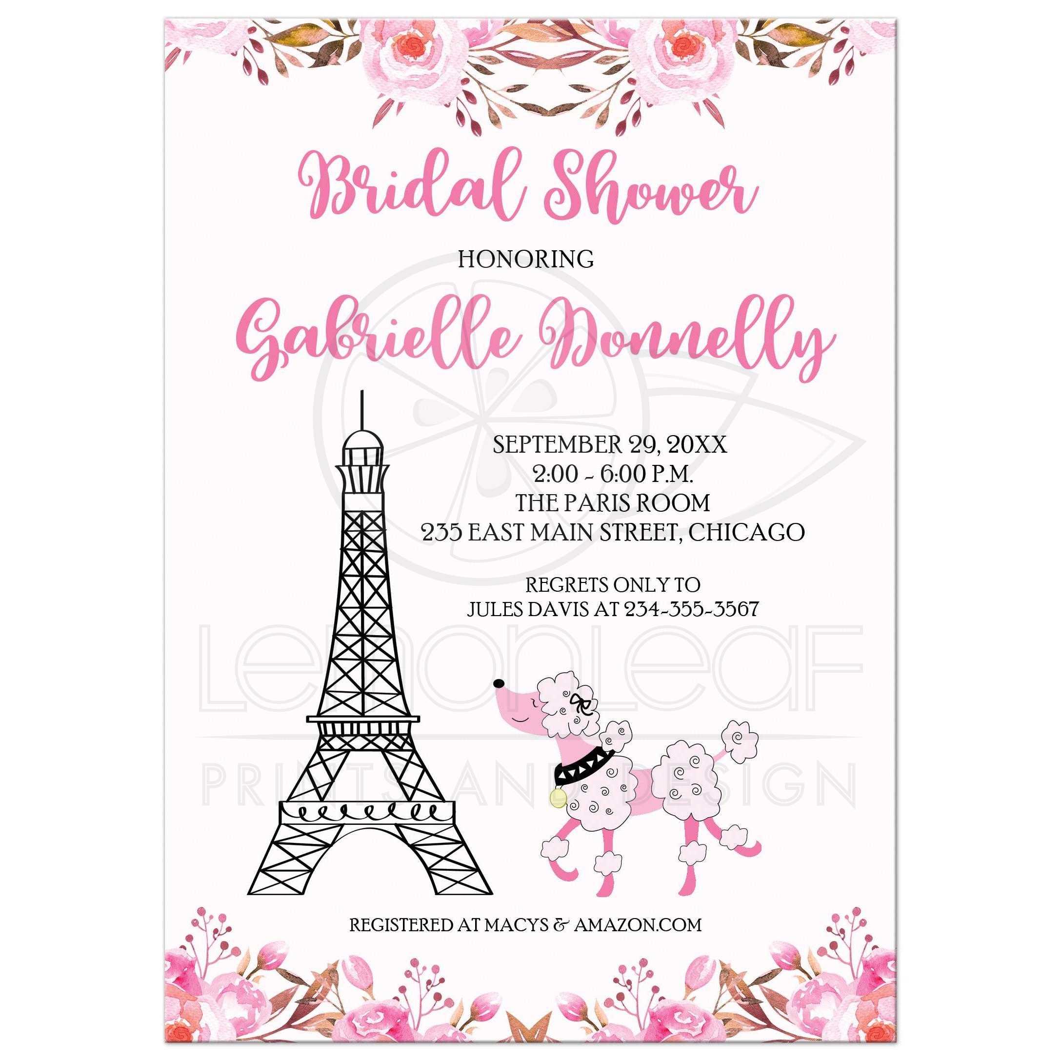 Paris Eiffel Tower Pink Poodle Fl