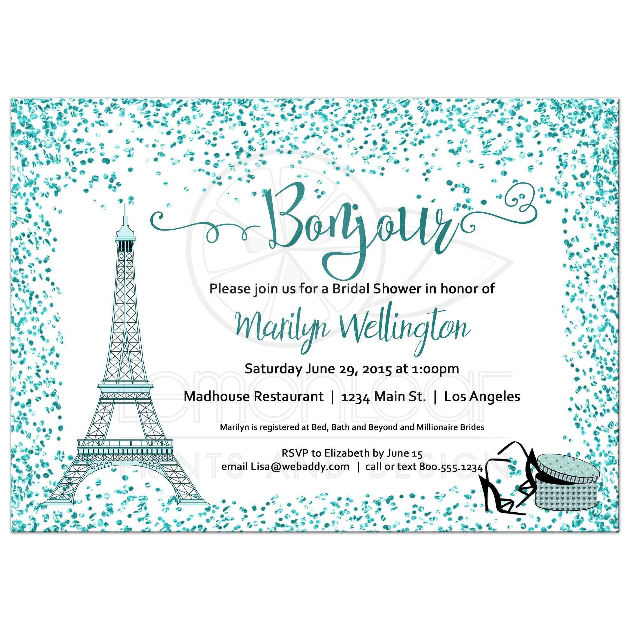 Teal Bonjour Bridal Shower Invitation