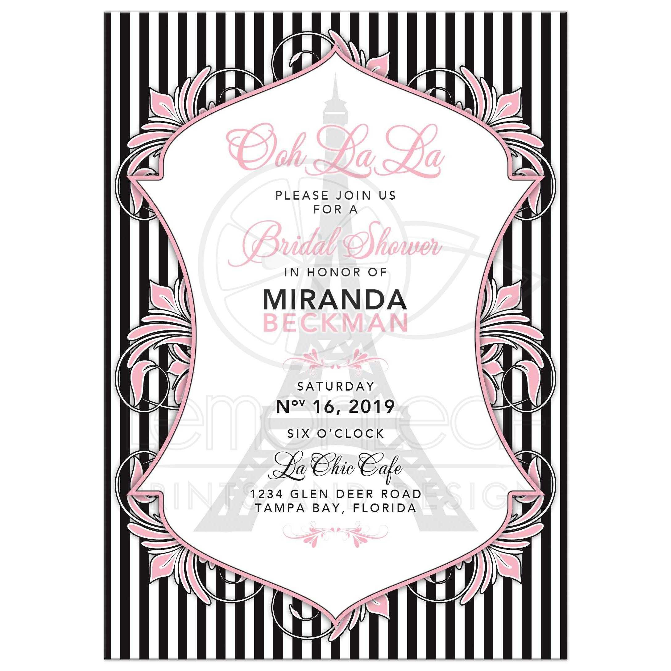 pink black white paris parisian eiffel tower bridal shower invitation with bold stripes and