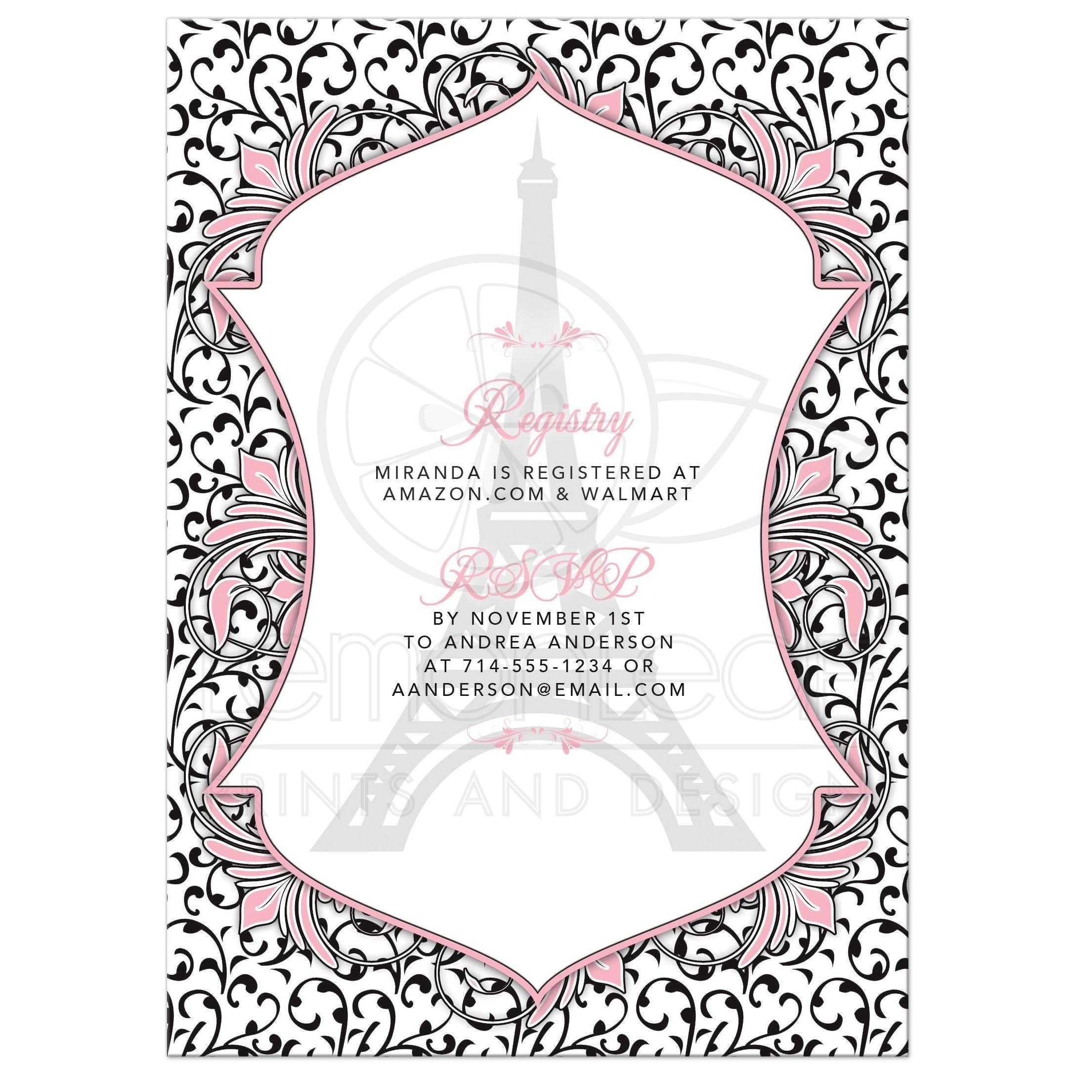 55a9c75ab1db Parisian Paris Eiffel Tower Bridal Shower Invitation Pink Black ...