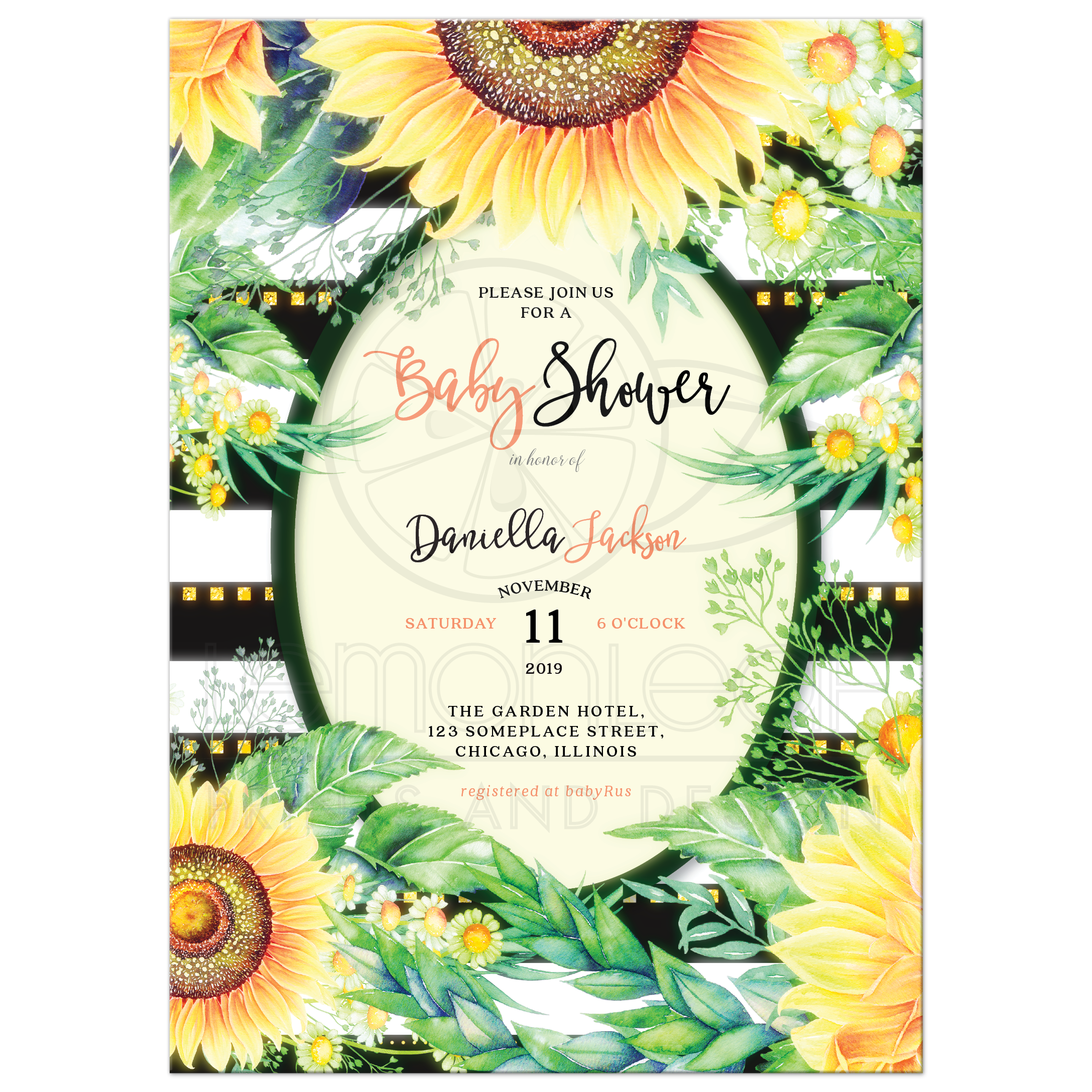 0a6cf73539582 Yellow Sunflowers & Daisies Baby Shower Invitation