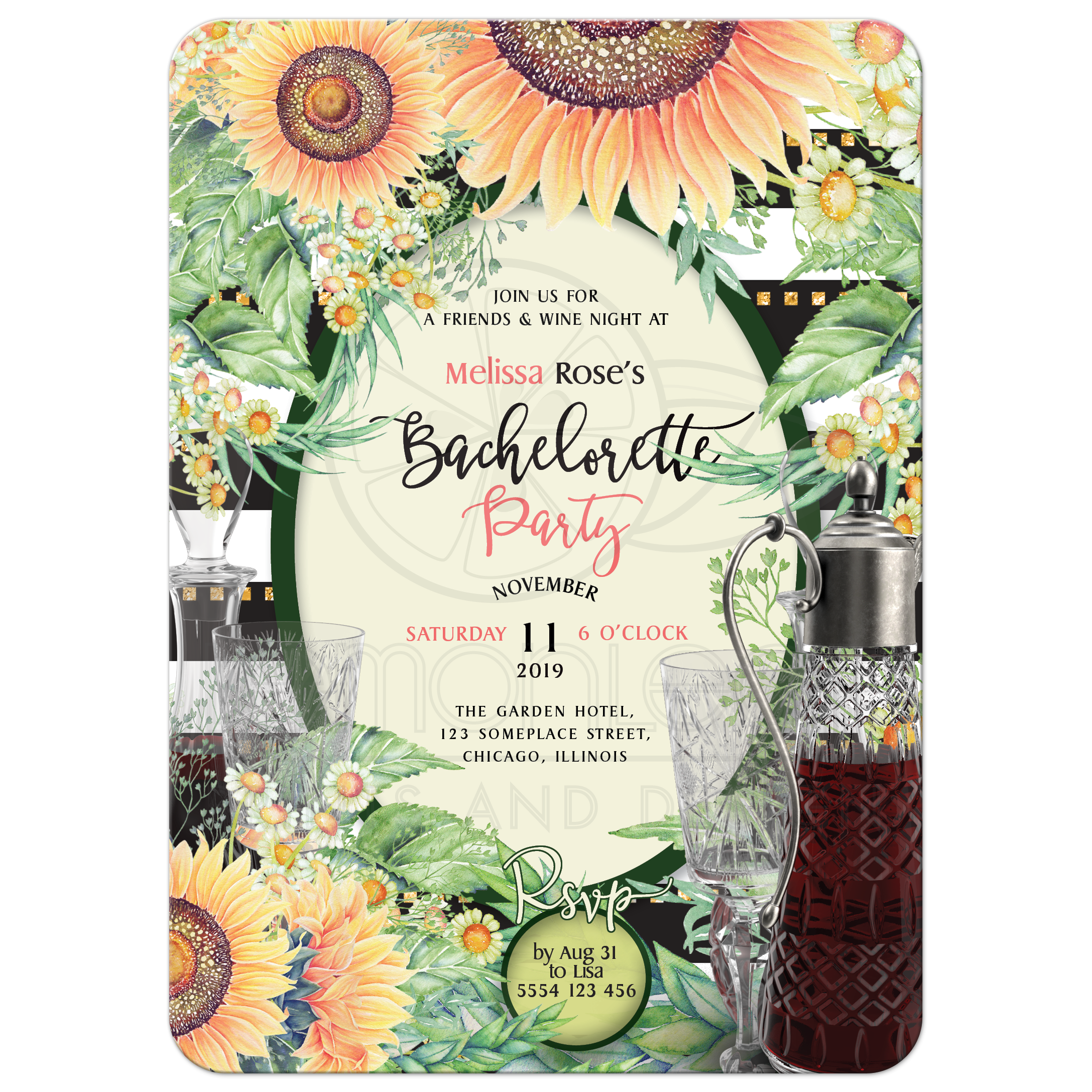 Sangria Wedding Invitations: Rustic Sunflowers Bridal Shower Sangria Bachelorette Party