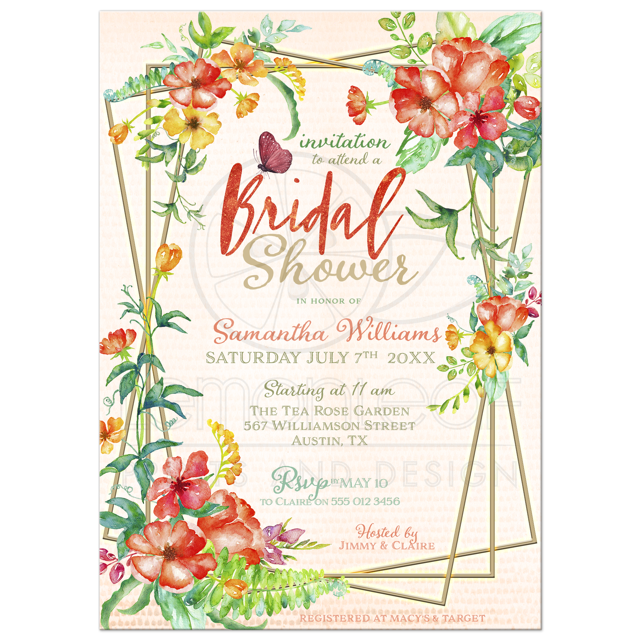 tropical flowers butterfly bridal shower invitation