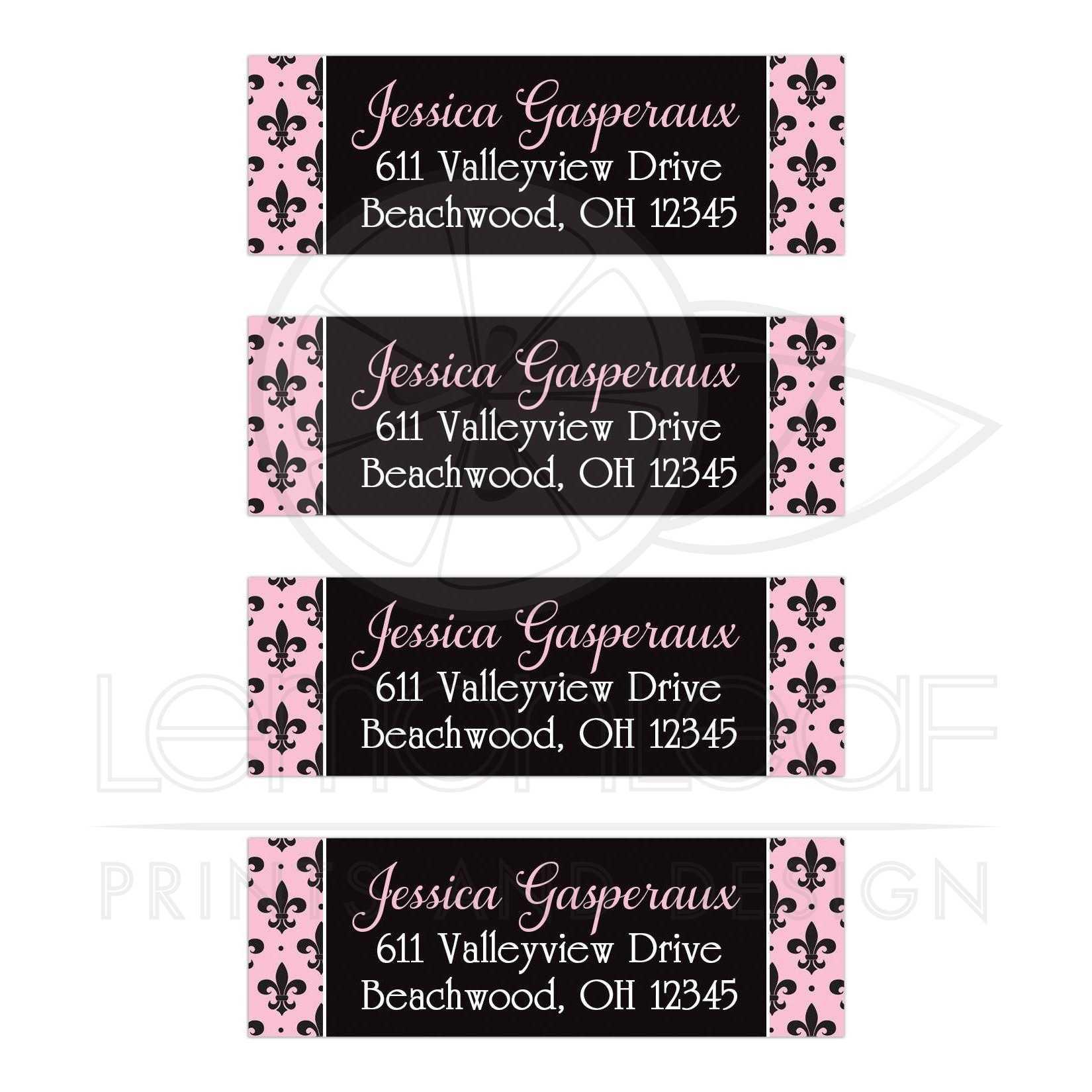 Paris, France Fleur-de-lis Address Labels | Pink, Black, White