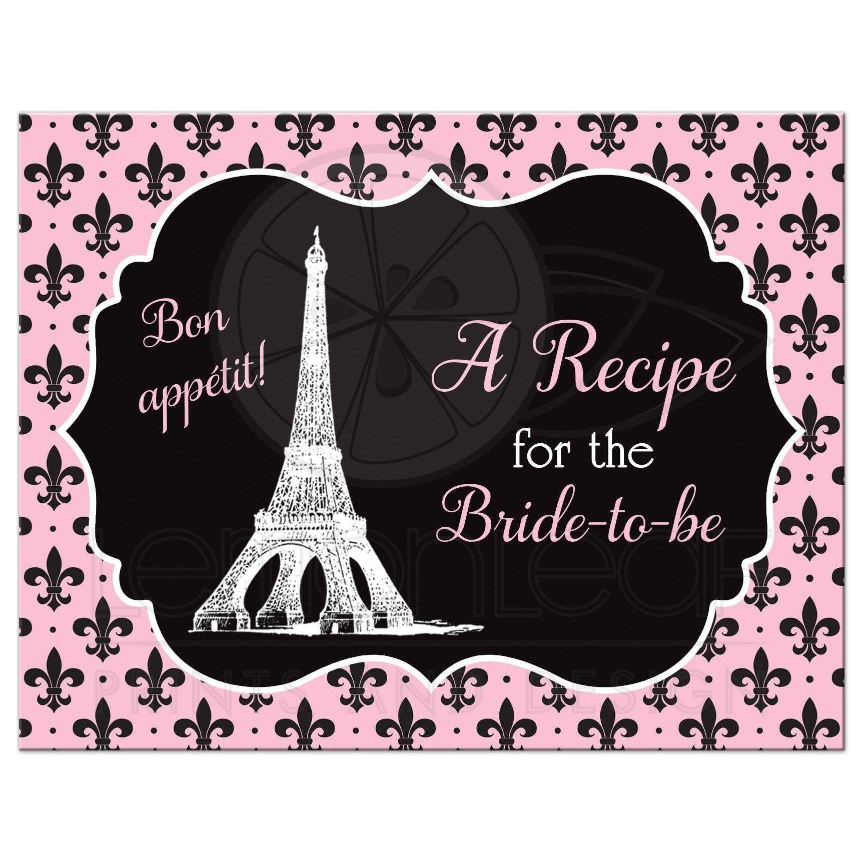 paris eiffel tower fleur de lis and polka dots pattern bridal shower recipe