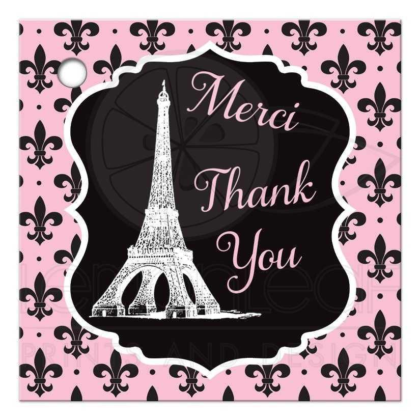 paris eiffel tower fleur de lis and polka dots pattern bridal shower favor
