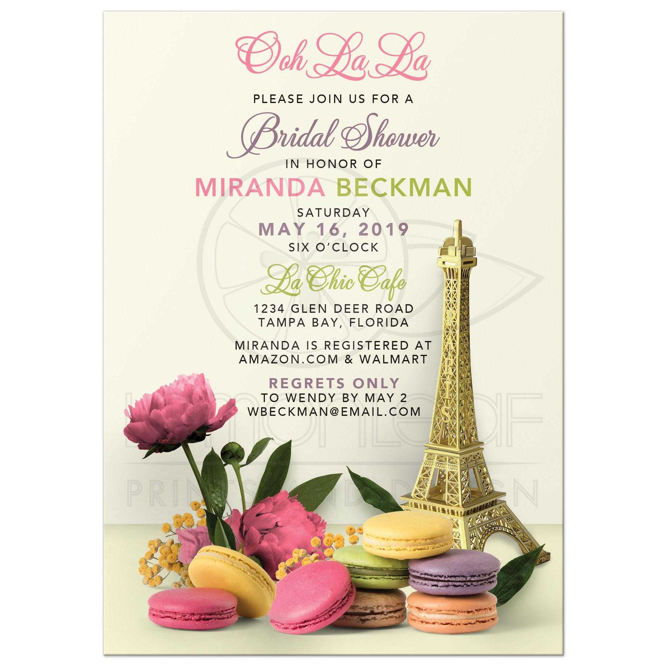 unique parisian paris bridal shower invitation with macaron cookies eiffel tower and peony flowers