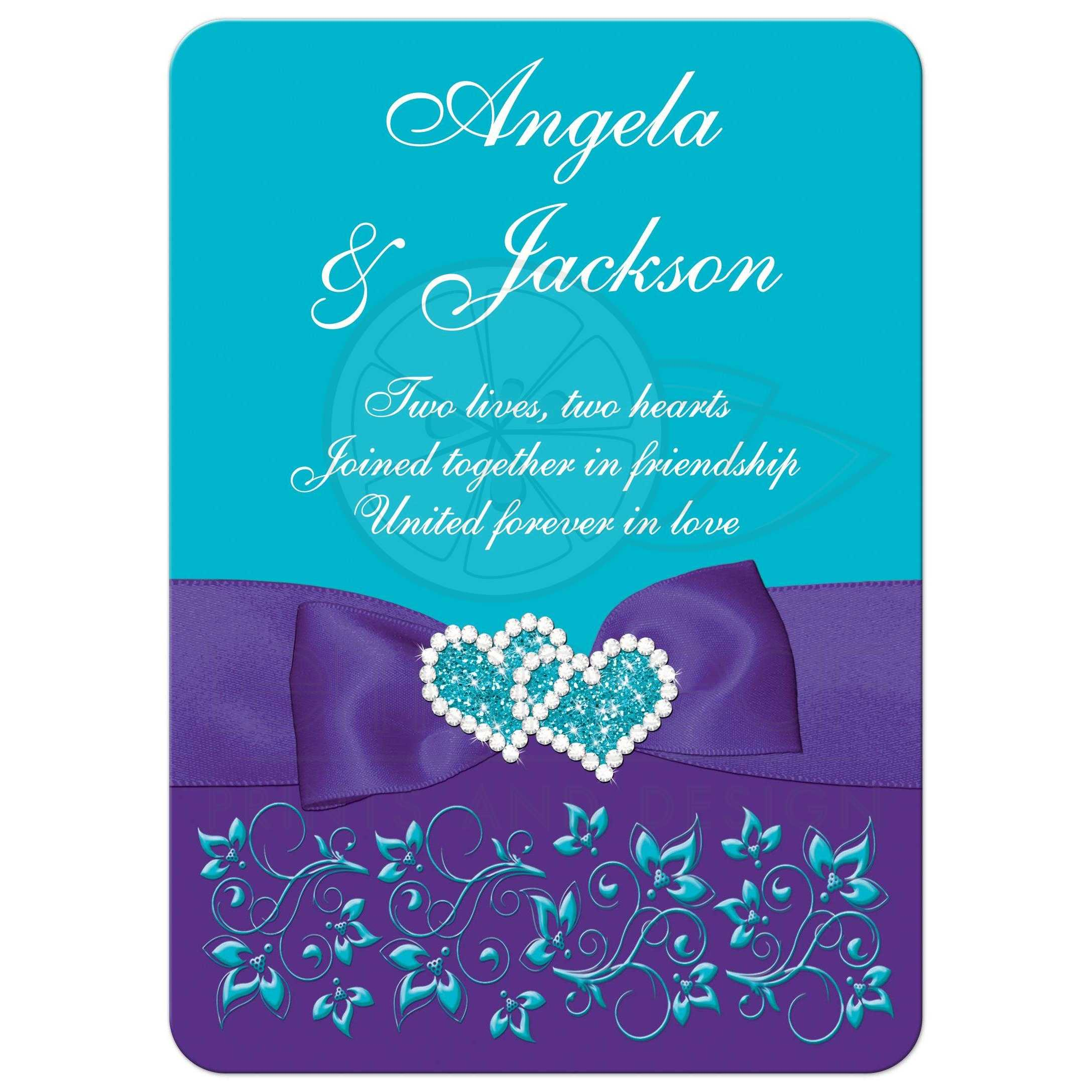 Turquoise, Purple, White Floral Wedding Invite