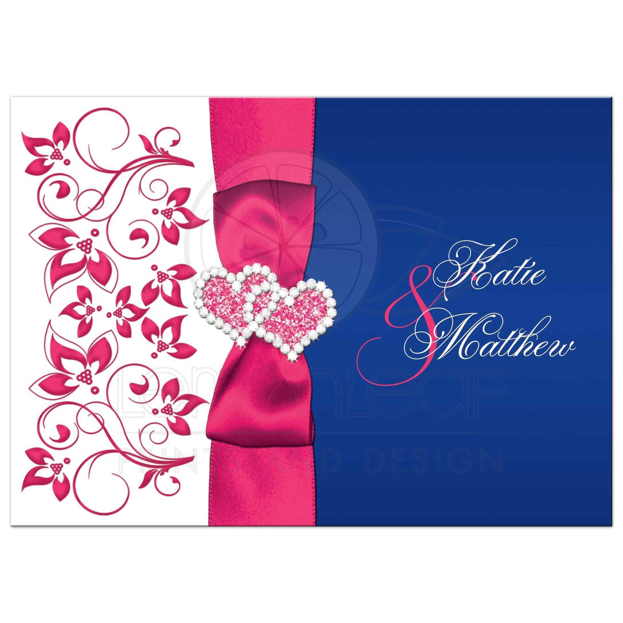 Royal Blue Fuchsia Pink And White Fl Wedding Invitation With Ribbon Bow