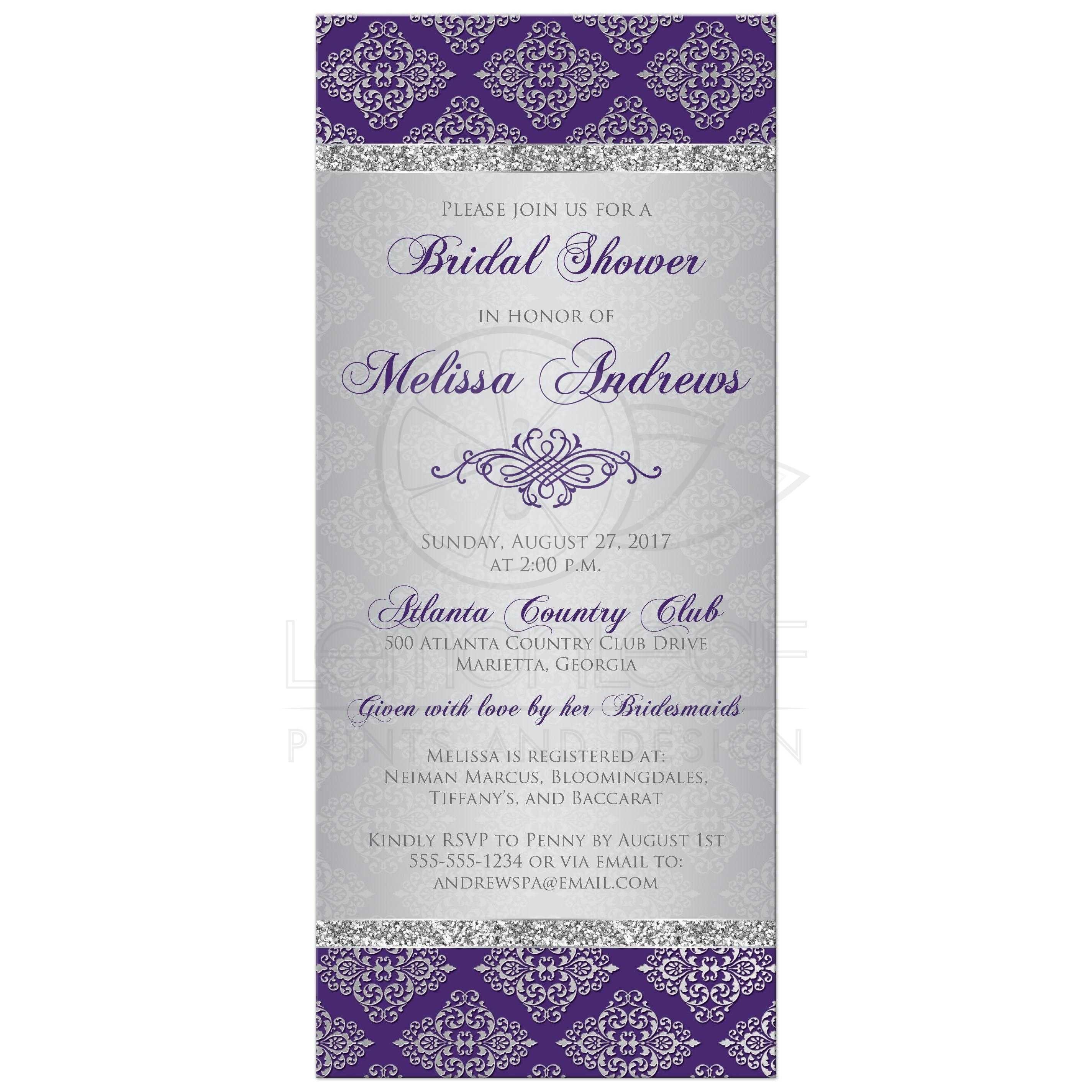 purple and silver grey damask bridal shower invite with silver glitter and an ornate scroll
