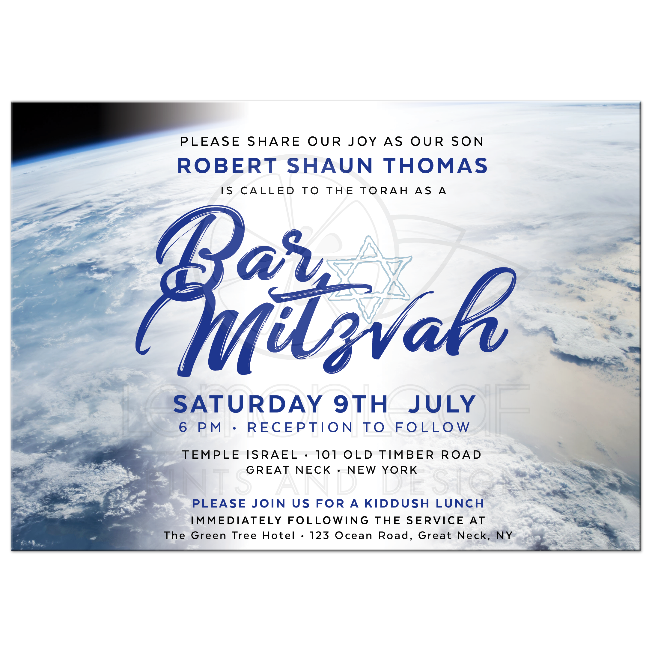 Earth Outer Space Bar Mitzvah Invitation