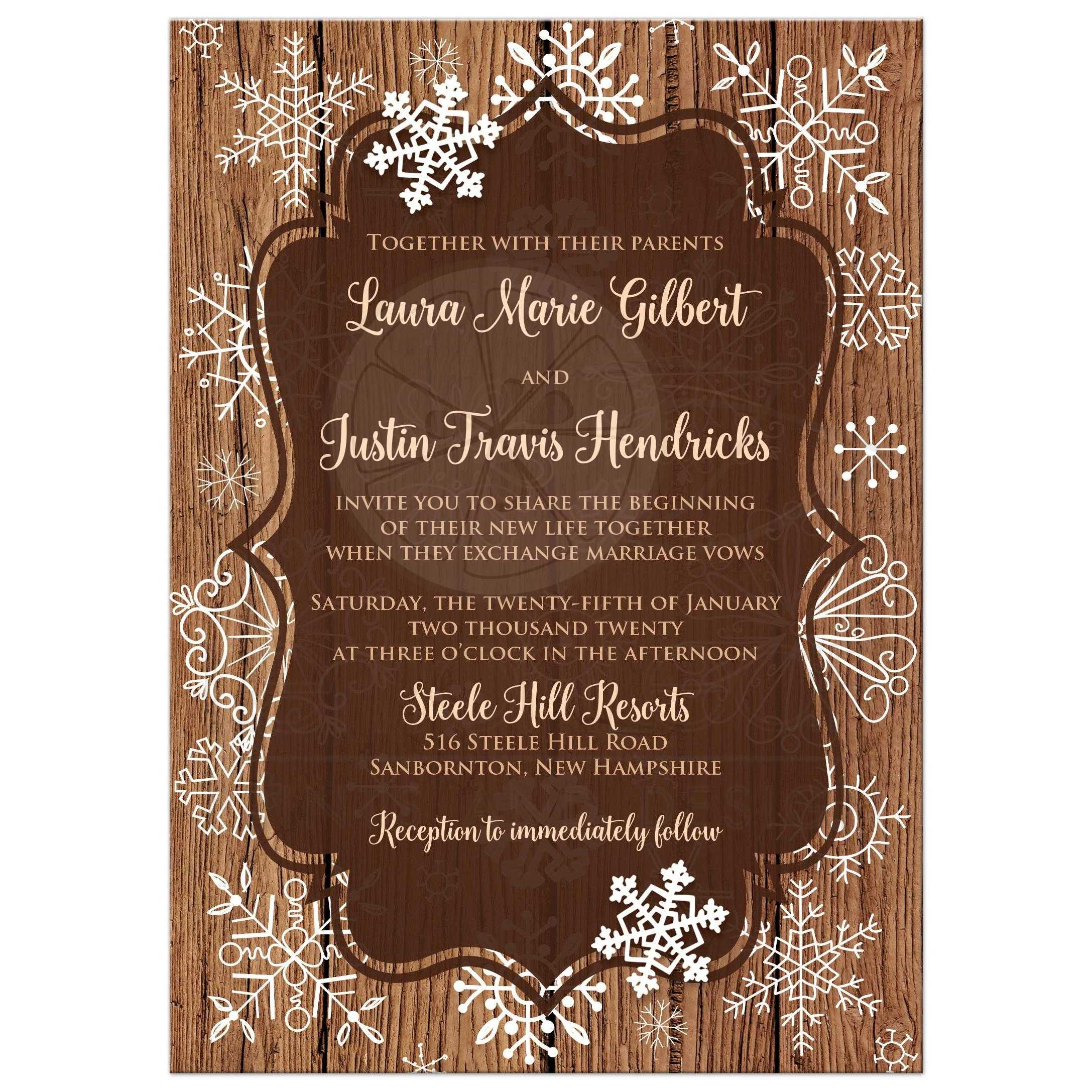 Rustic Brown Wood Grain Look Winter Wedding Invitation With White Whimsical Hand Drawn Snowflakes And