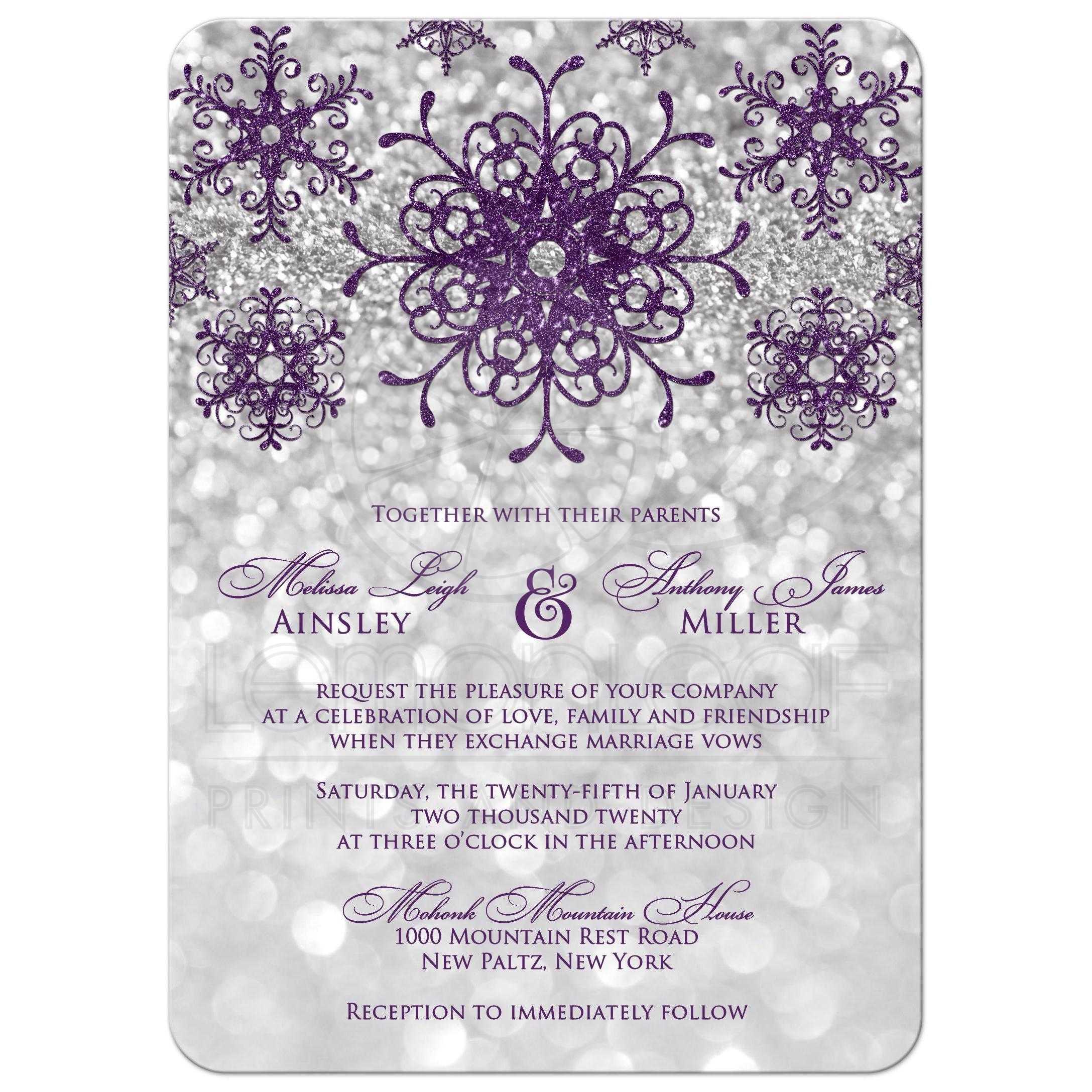 Bokeh Flowers Wedding: Modern Silver Bokeh, Purple Snowflakes Wedding Invitation
