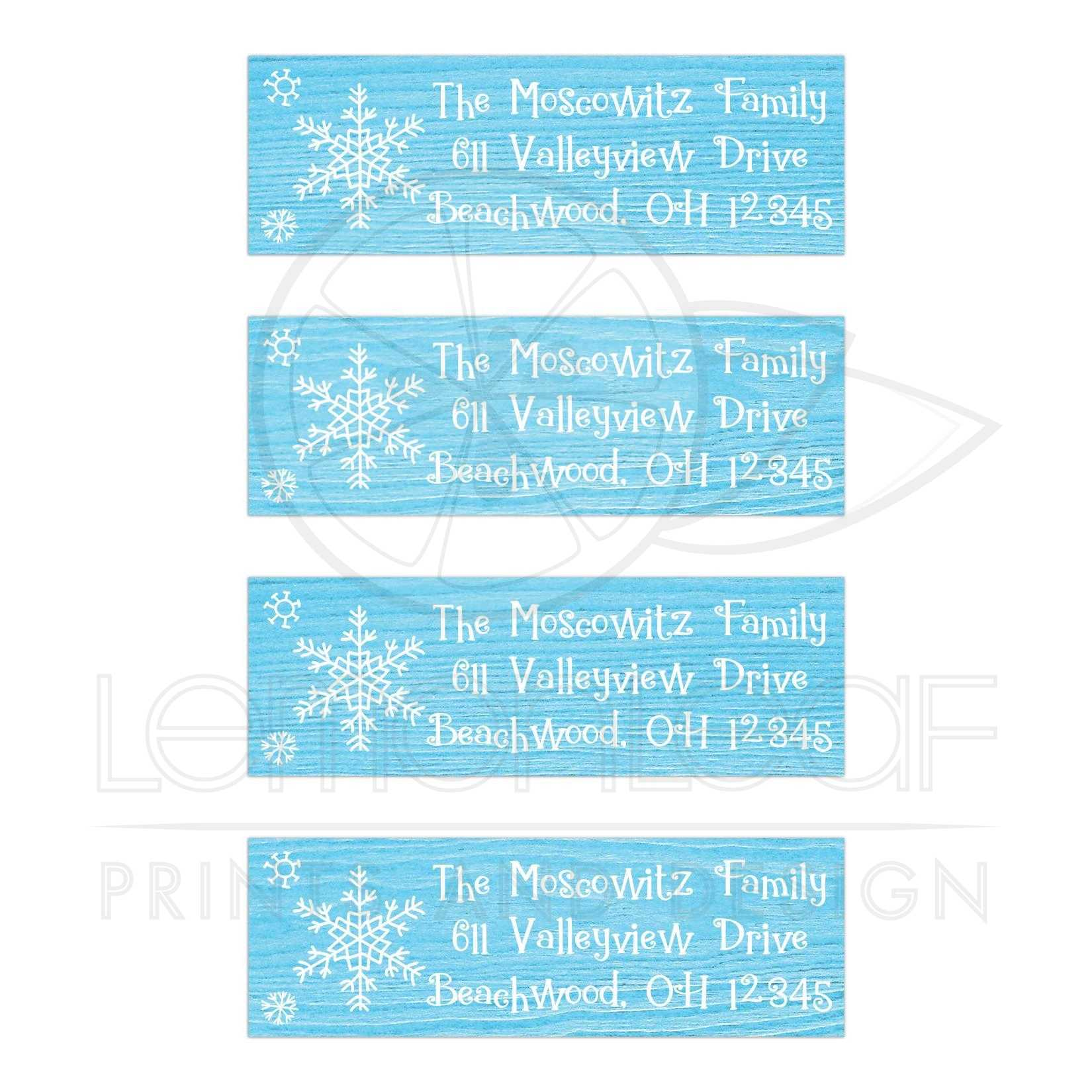 blue white whimsical snowflakes on wood address labels