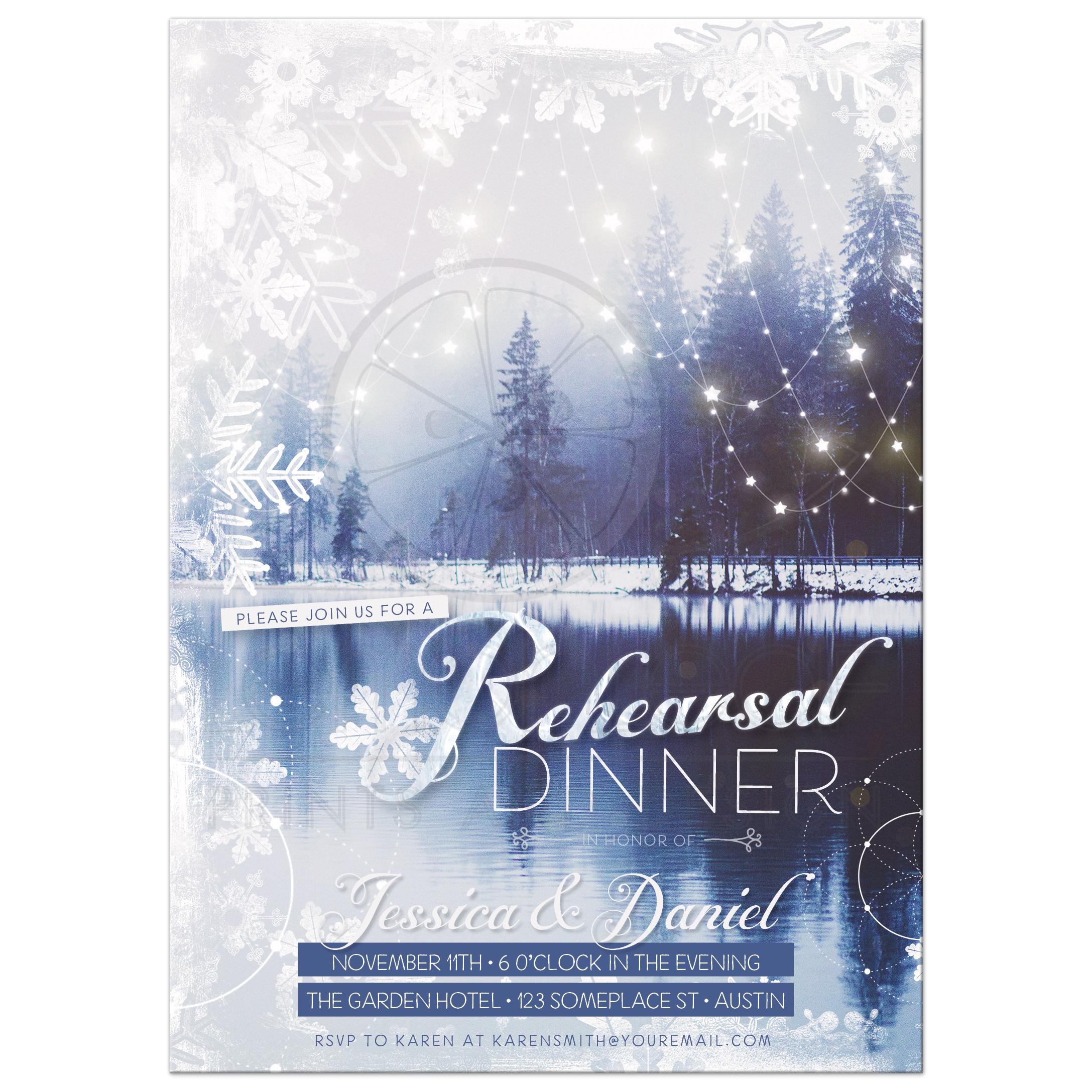 winter wonderland rehearsal dinner invitation card