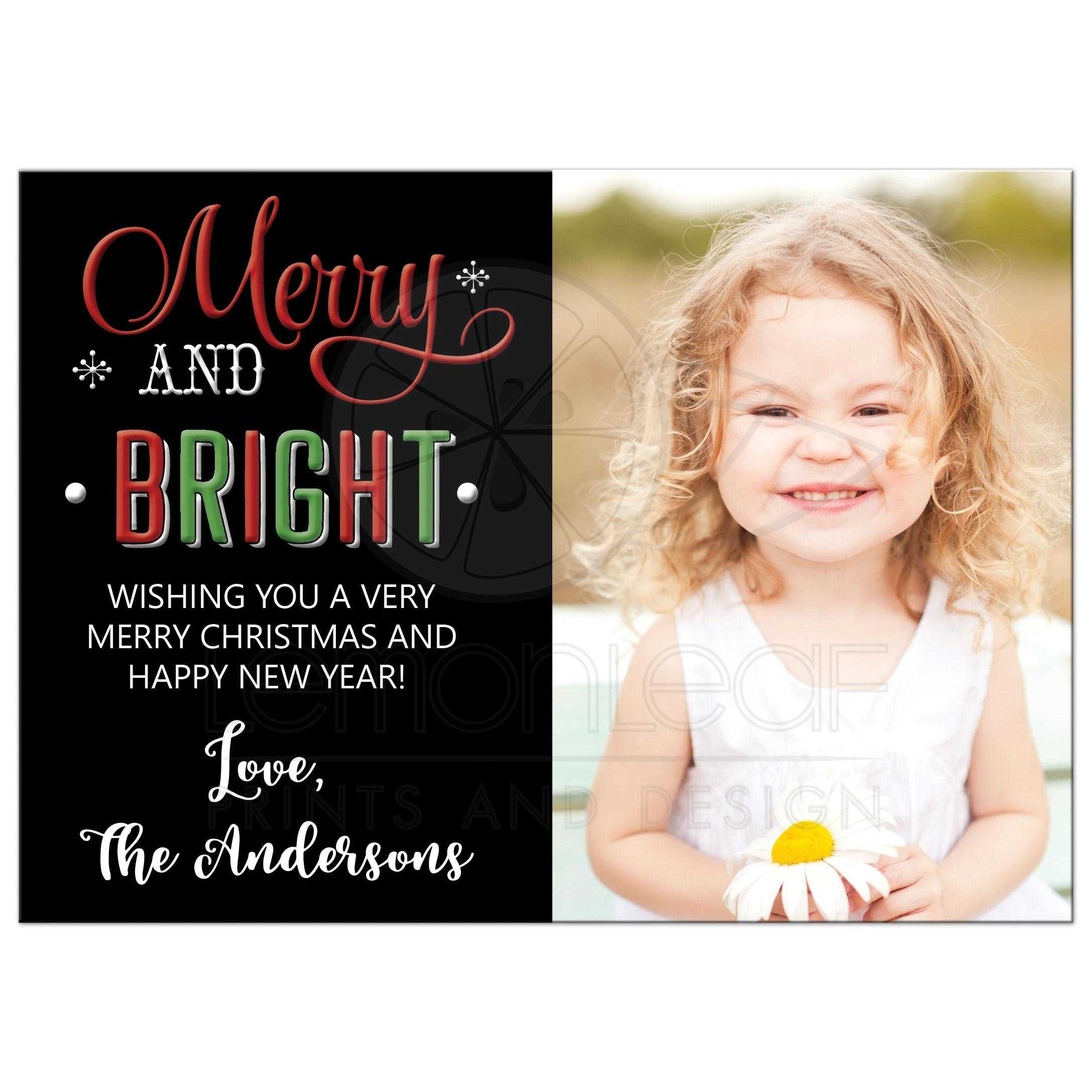 Merry and Bright Christmas Photo Card | Red and Black