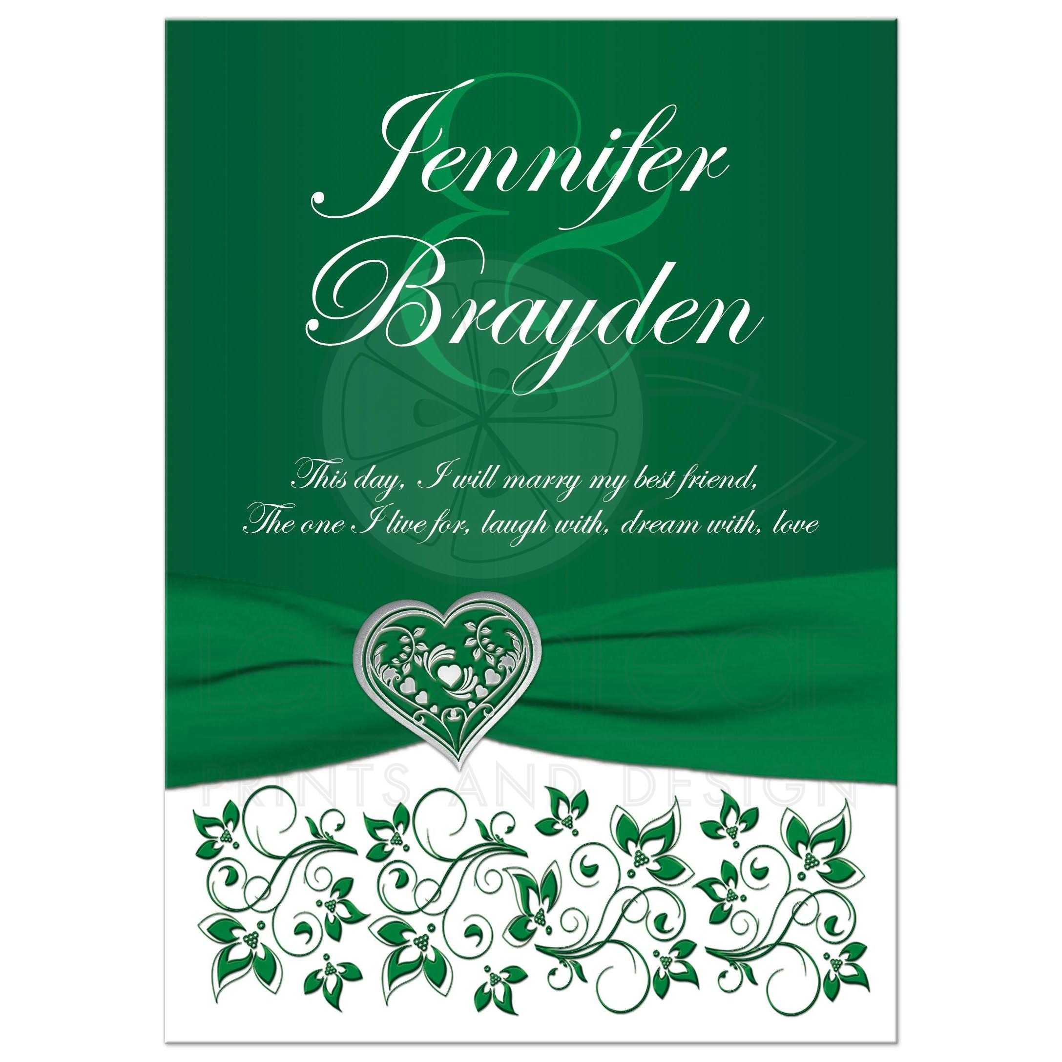 Emerald Green Heart Of Love Wedding Invite Printed On Ribbon