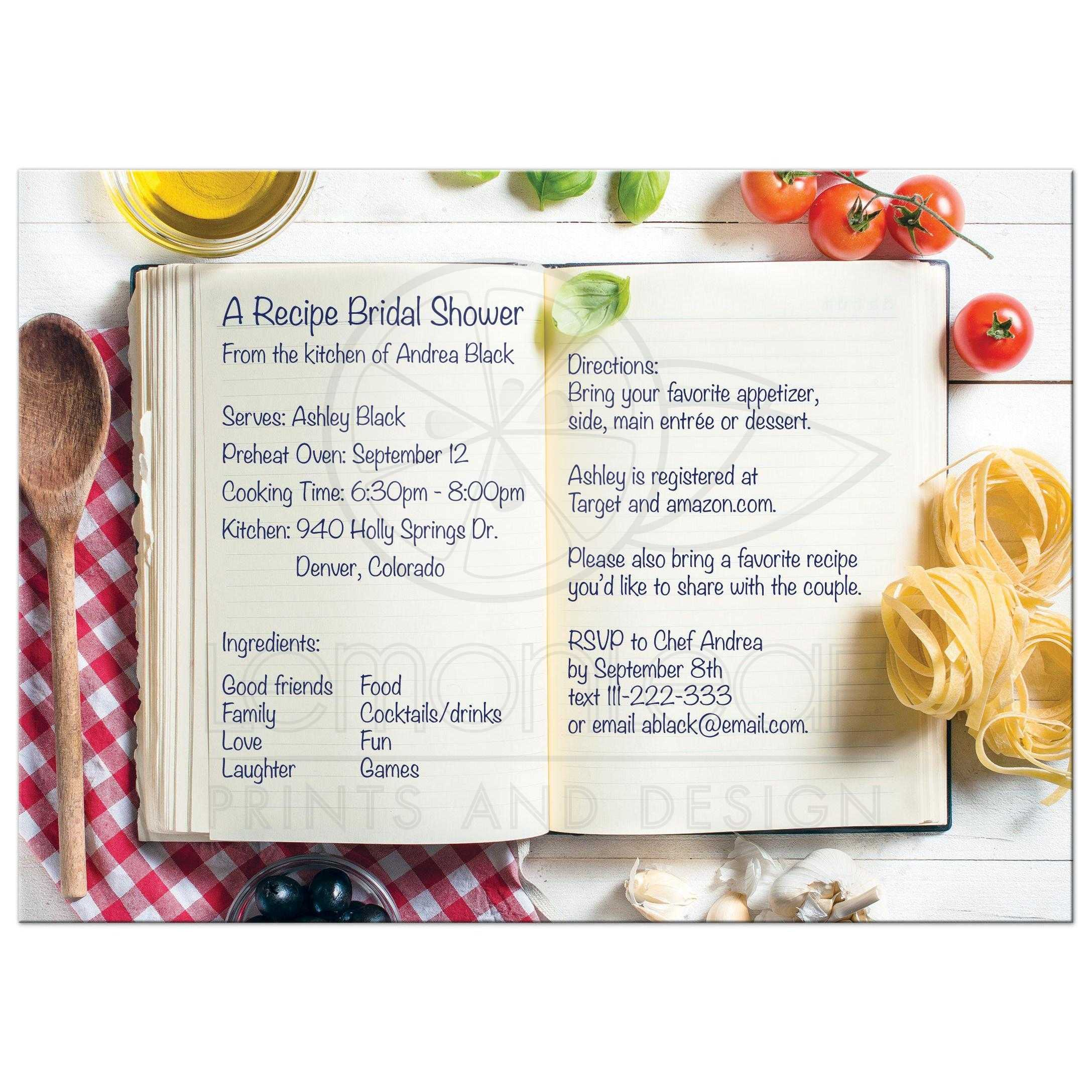 unique kitchen or cooking recipe style bridal shower invitation with recipe book ingredients and kitchen