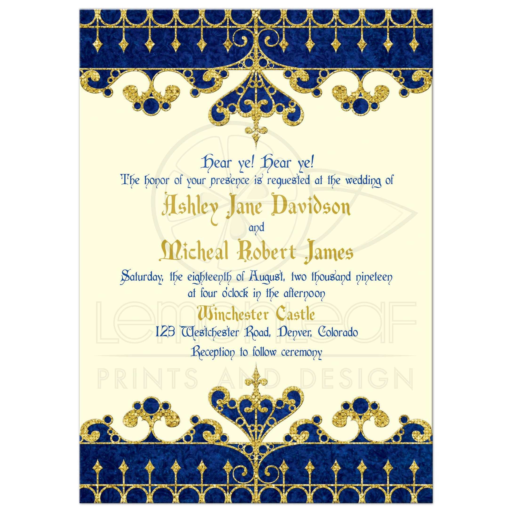 Medieval Fairy Tale Wedding Invitation Royal Blue Gold Ivory