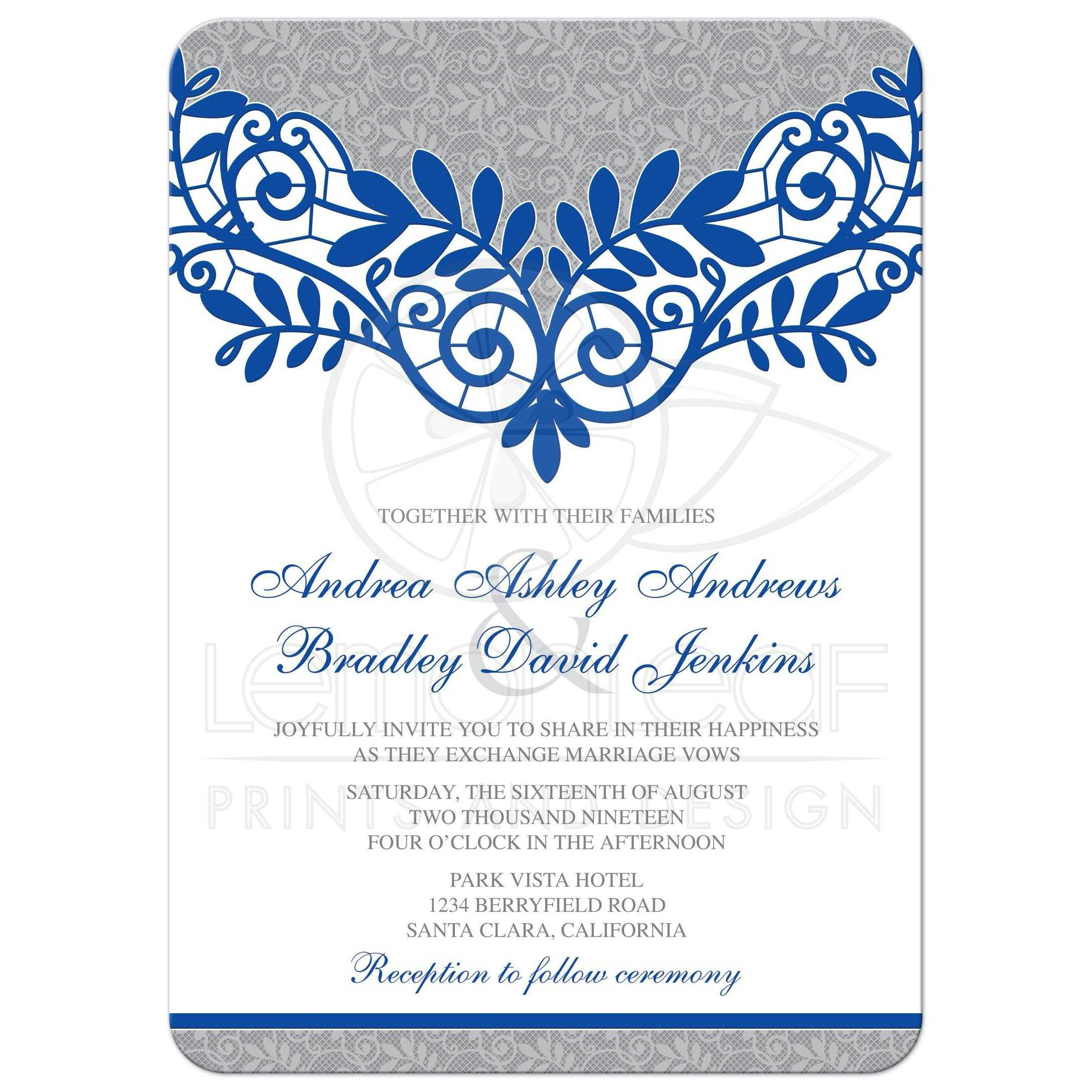 Wedding Invitations Blue And Silver: Royal Blue Silver Wedding Invitation Royal Blue Silver