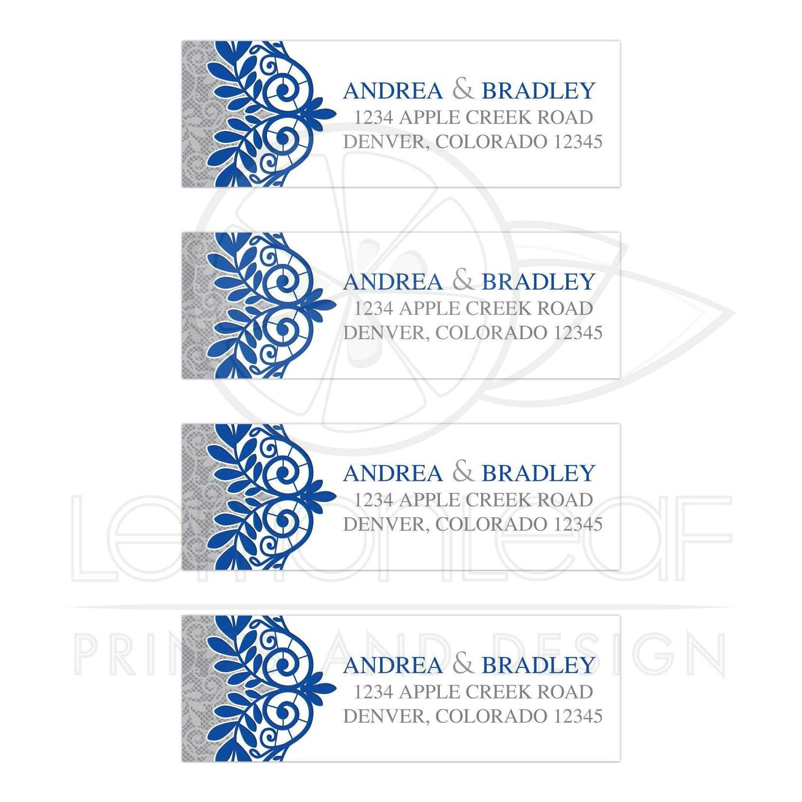 royal blue silver wedding address labels royal blue silver gray lace