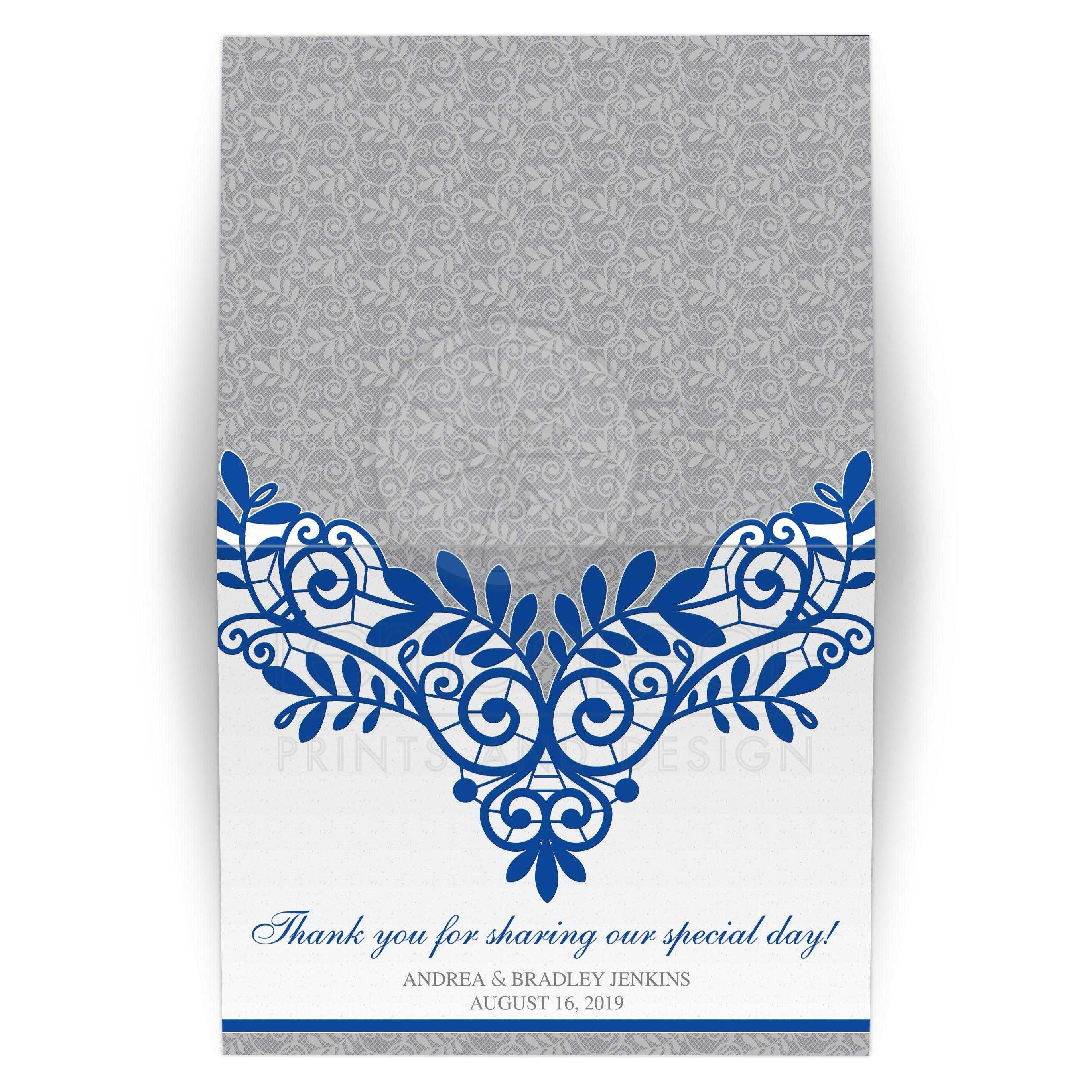 Ypus Silver Wedding Thank: Royal Blue Silver Wedding Thank You Card Royal Blue Silver