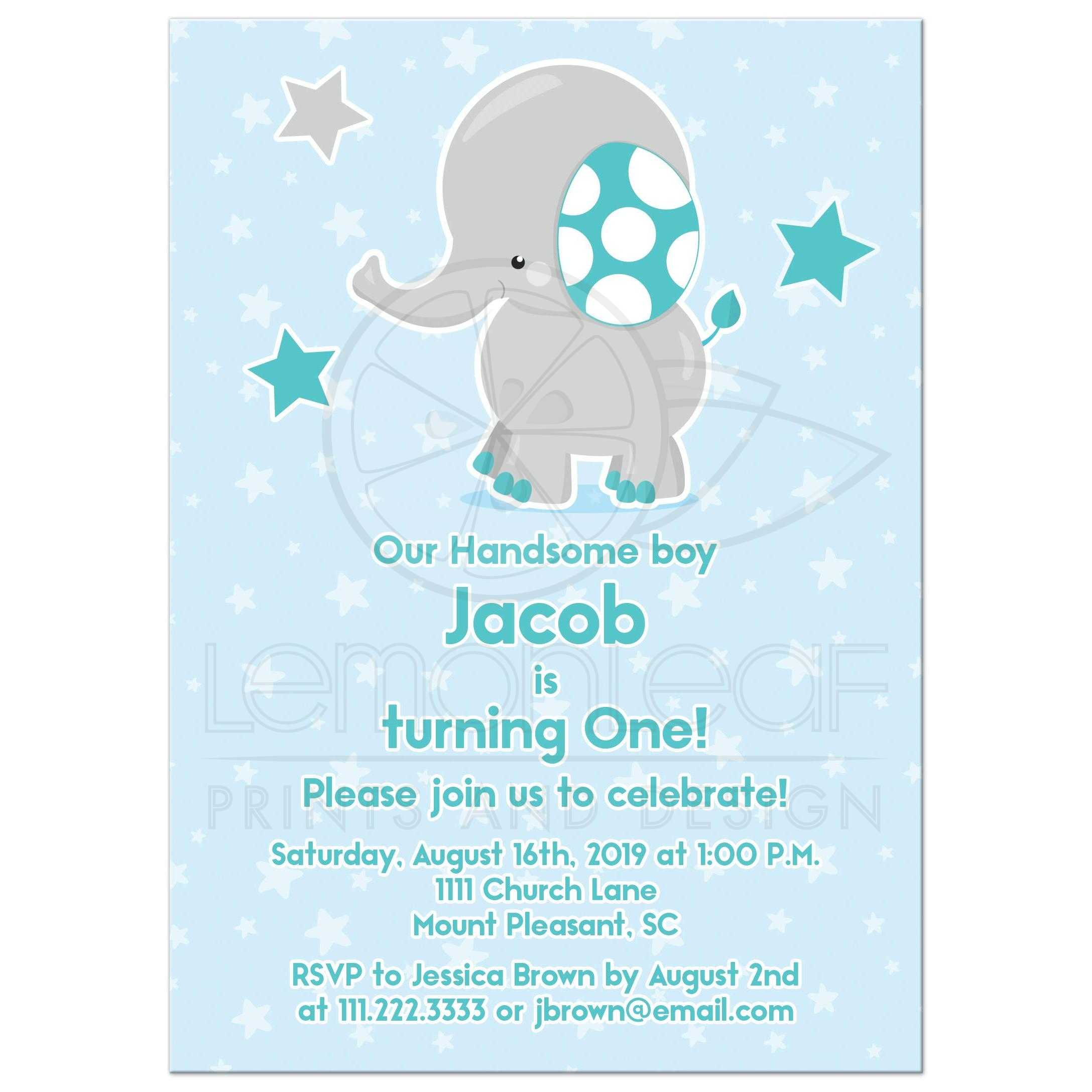 Cute Teal Blue And Gray Elephant Stars 1st Birthday Party Invitation