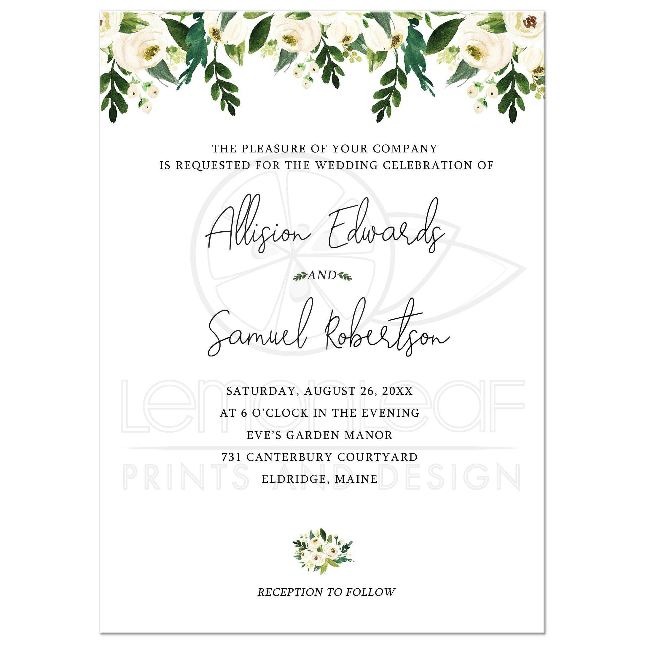 Sending Wedding Invitations Post Office: White Rose Floral Greenery Wedding Invitation