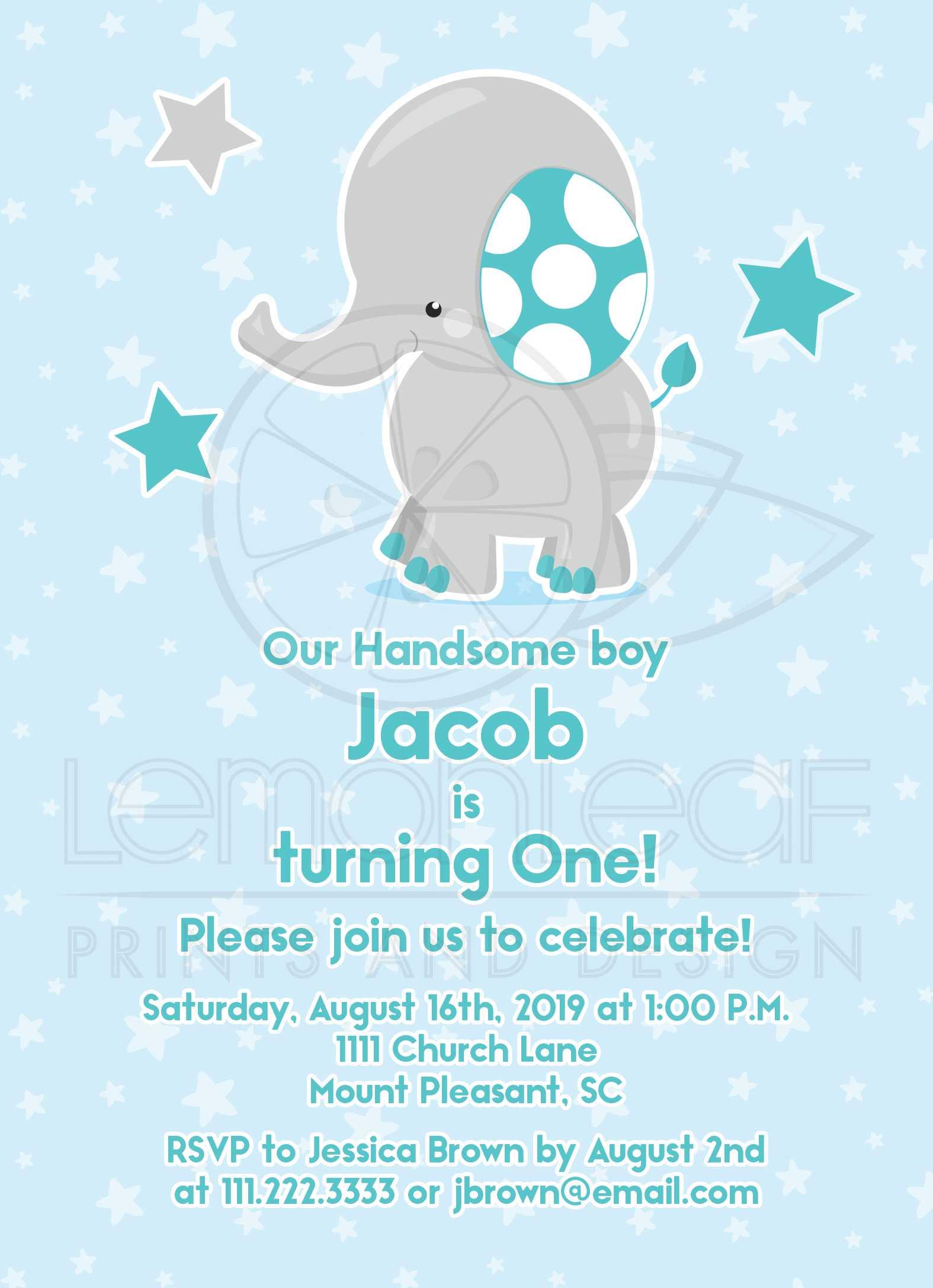 Cute Elephant 20st Birthday Invitation Teal Gray