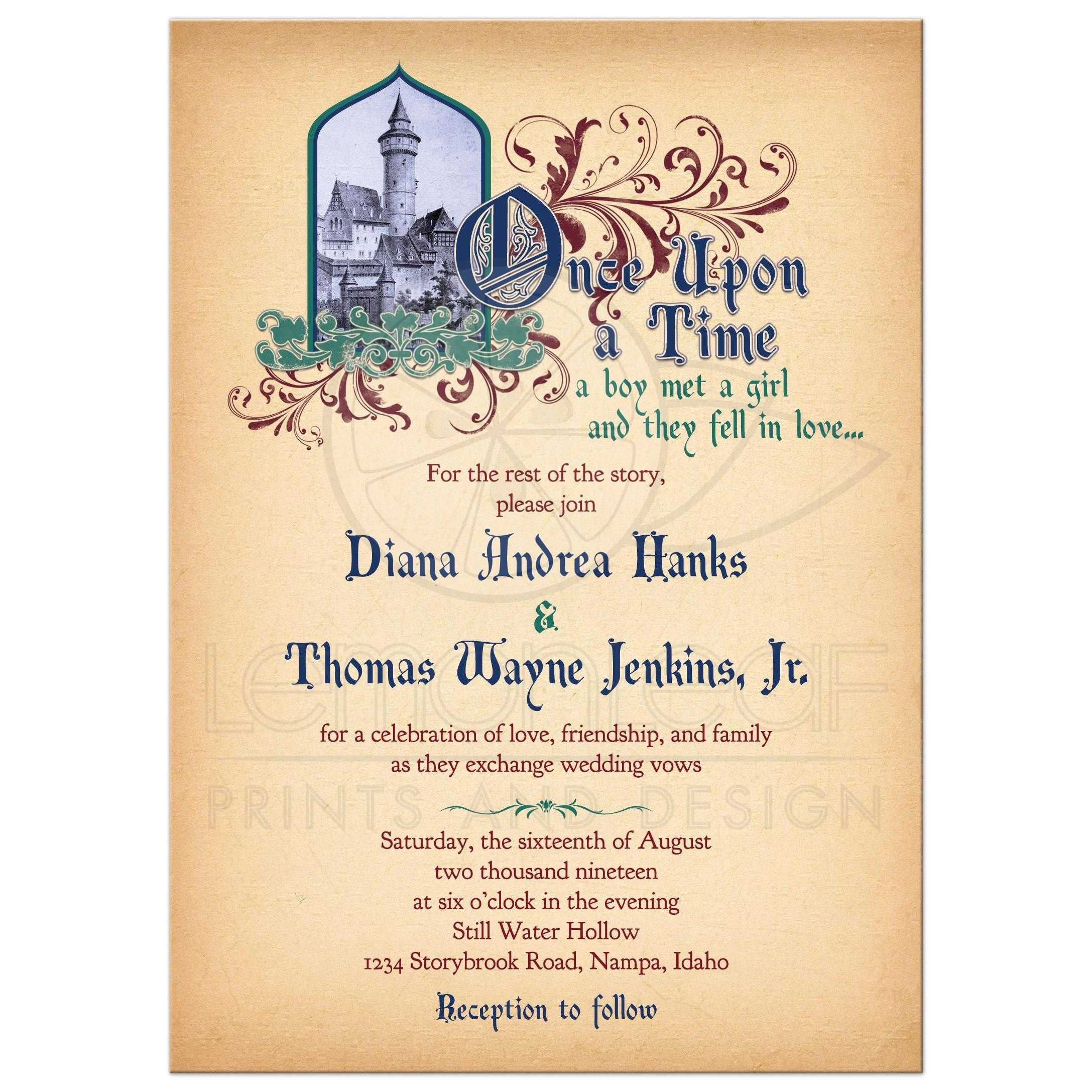 Fairy Tale Wedding Invitation Medieval Castle Once Upon A Time Jewel